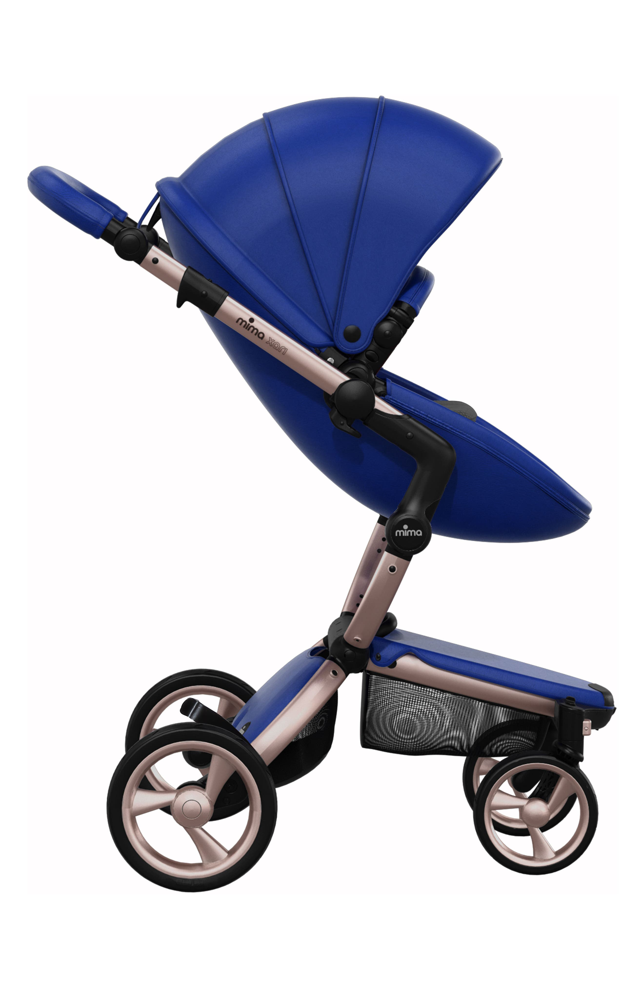 Xari Rose Gold Chassis Stroller with Reversible Reclining Seat & Carrycot,                             Alternate thumbnail 3, color,                             Royal Blue/ Black