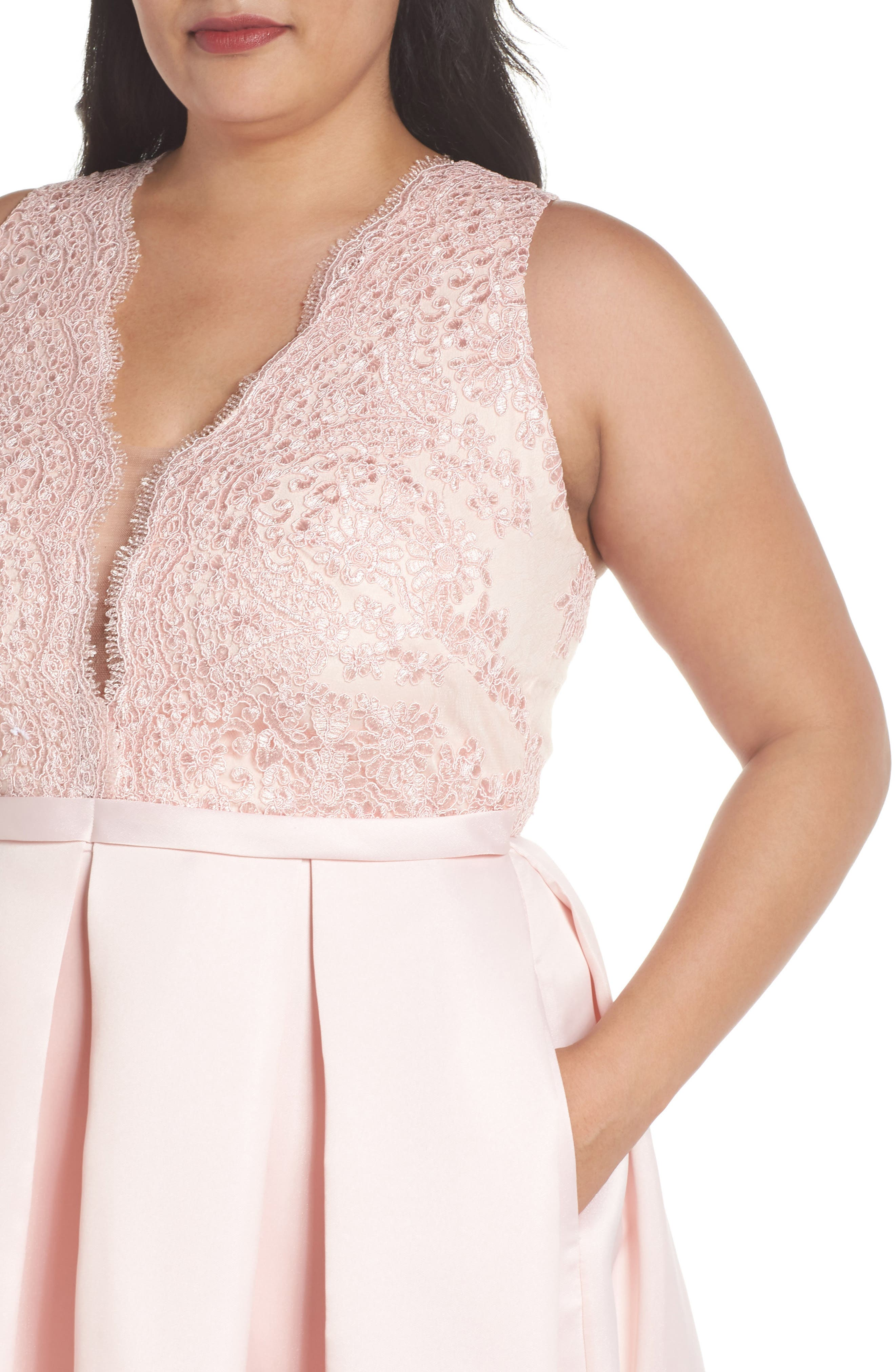Alternate Image 4  - Marina Lace & Pleated High/Low Gown (Plus Size)