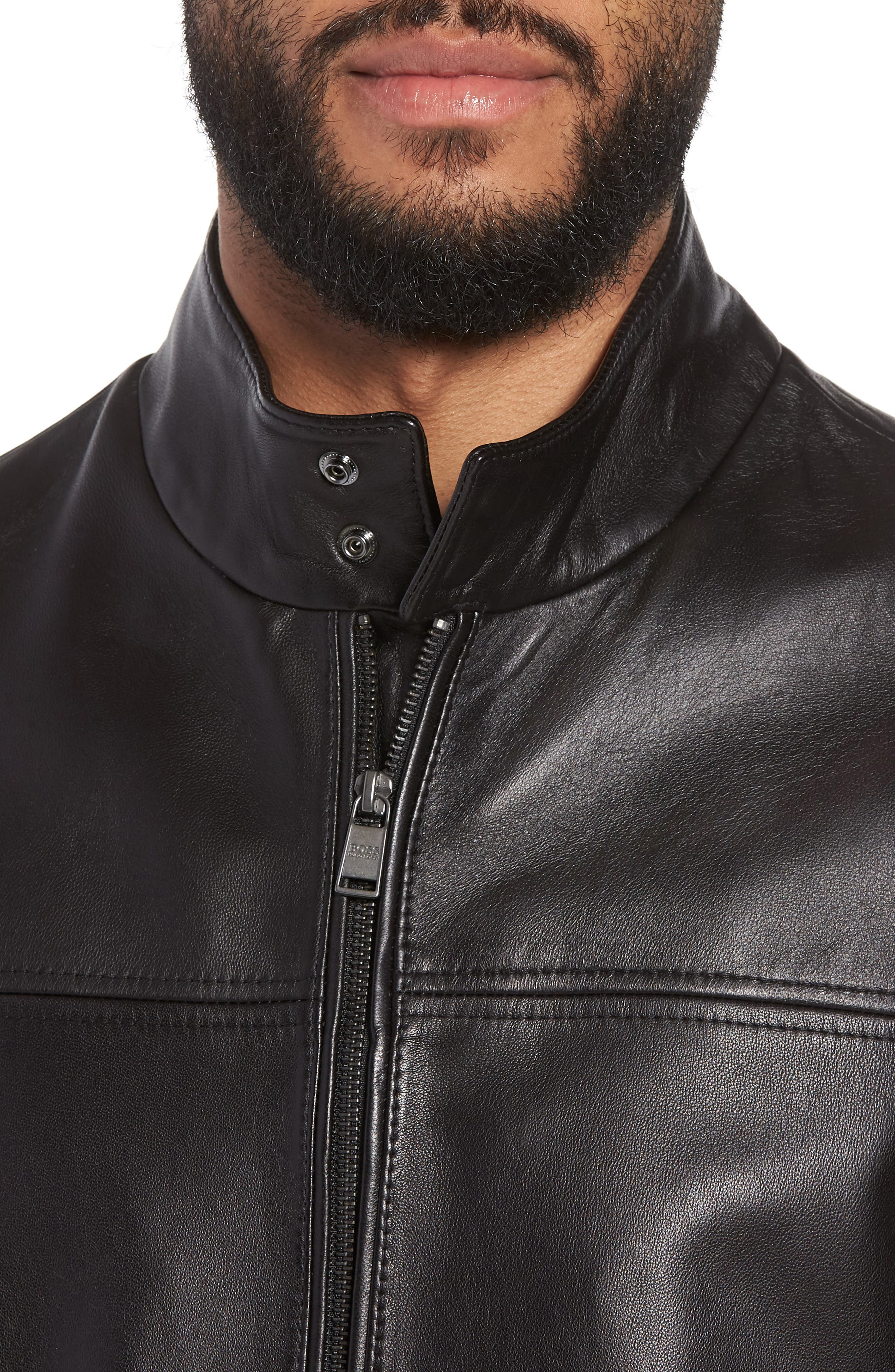 Nerous Leather jacket,                             Alternate thumbnail 4, color,                             Black