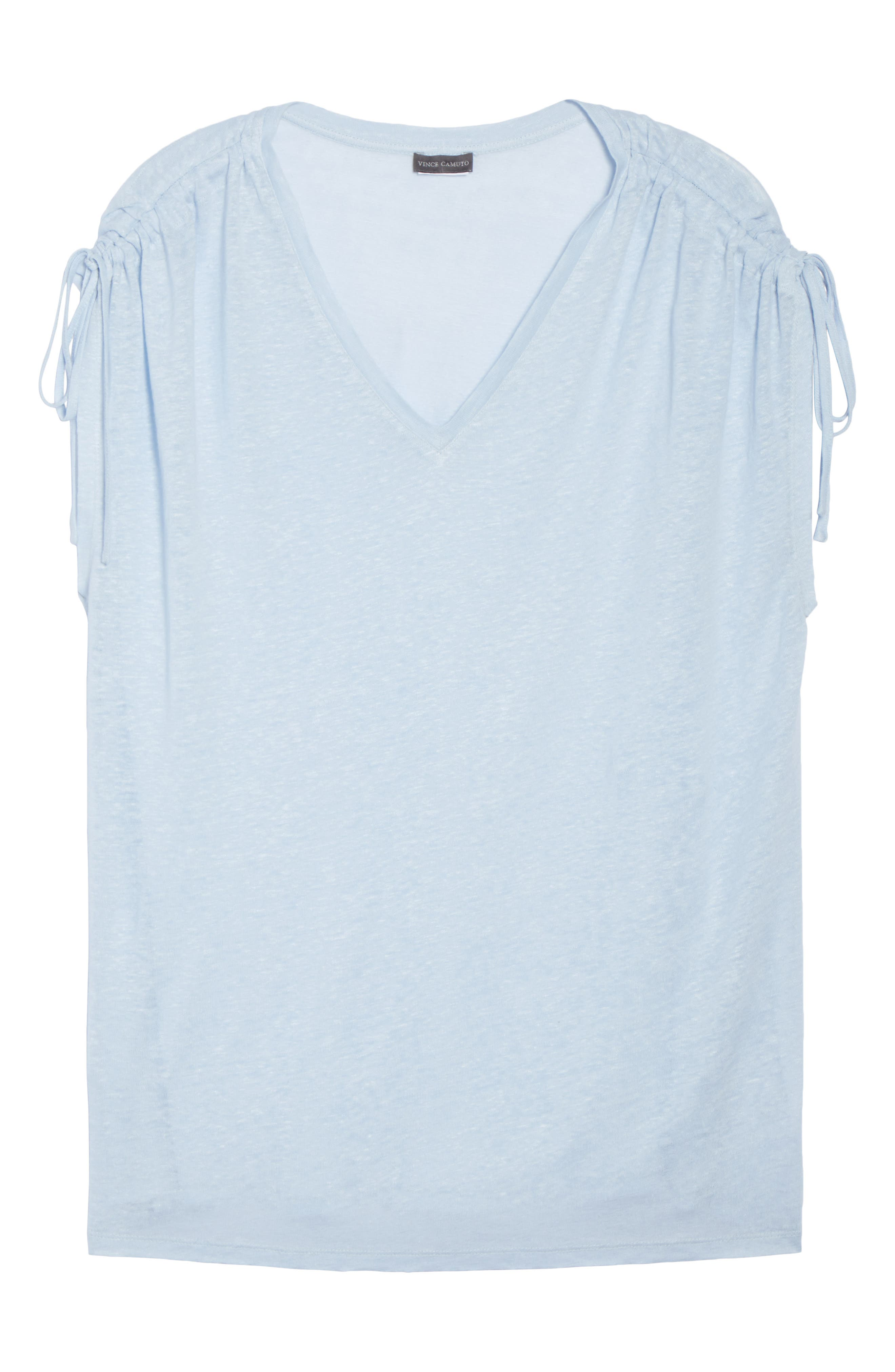 Drawstring Shoulder Linen Top,                             Alternate thumbnail 7, color,                             Dew Blue