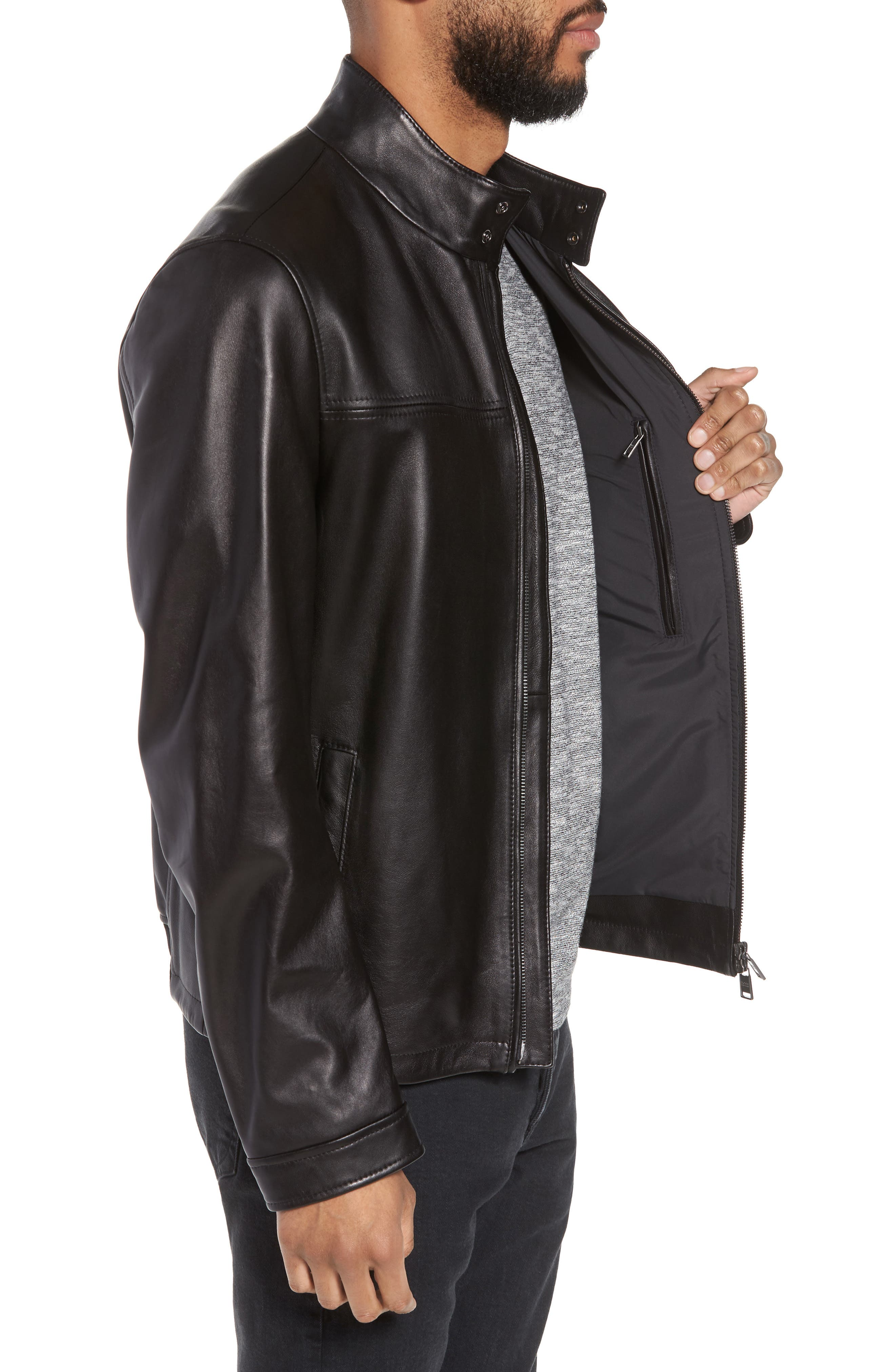 Nerous Leather jacket,                             Alternate thumbnail 3, color,                             Black