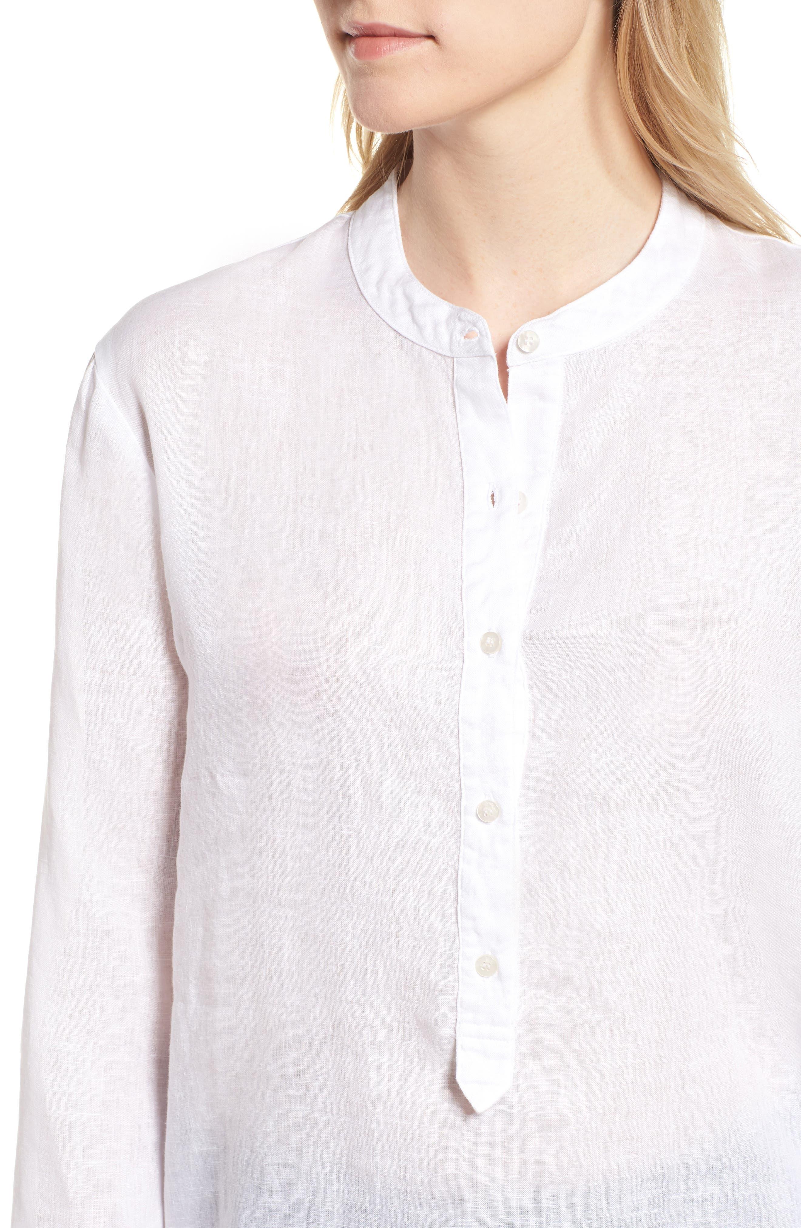 Shirting Tunic Top,                             Alternate thumbnail 4, color,                             White