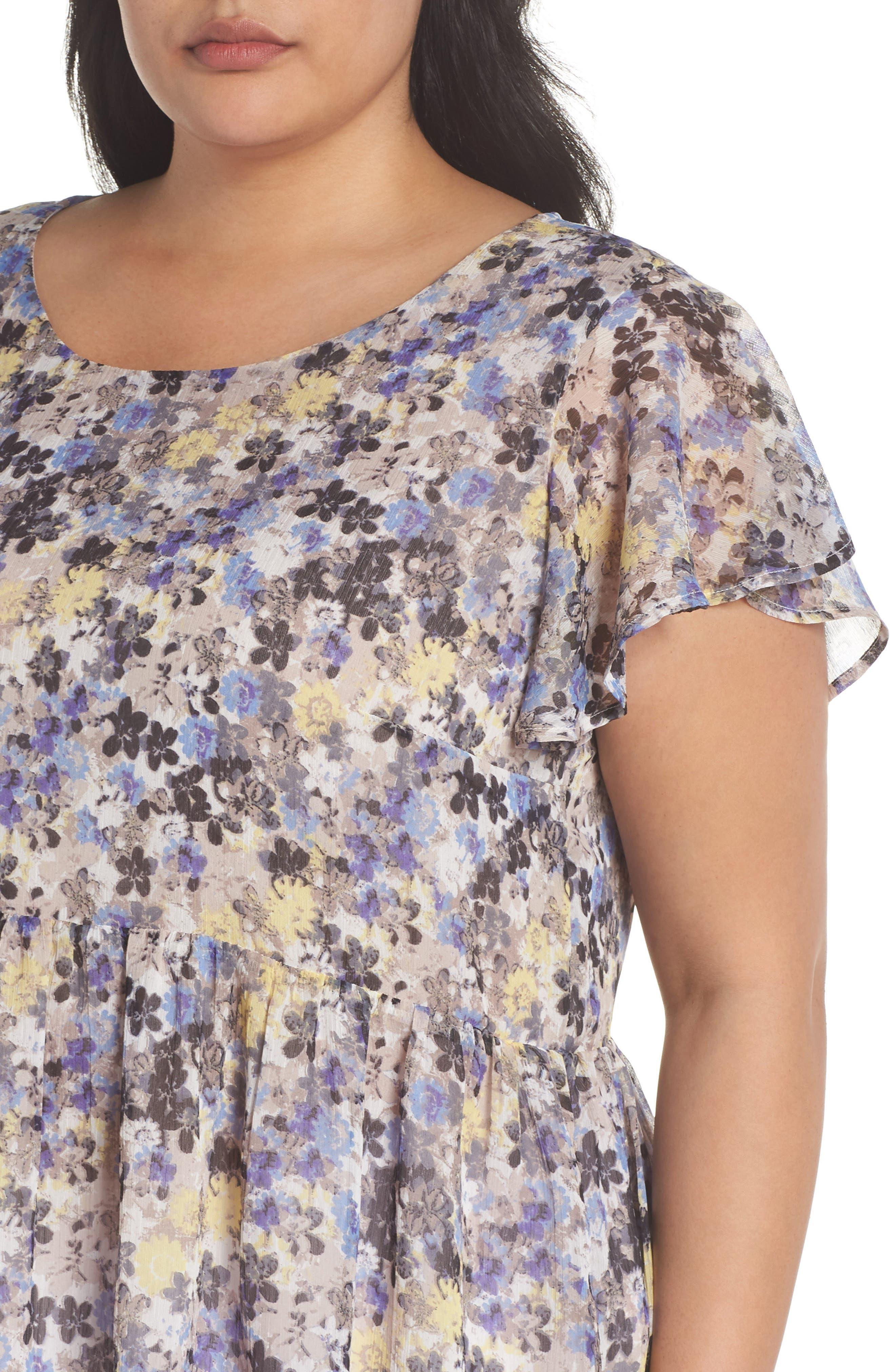 Floral Tie Back Top,                             Alternate thumbnail 4, color,                             Blue Multi