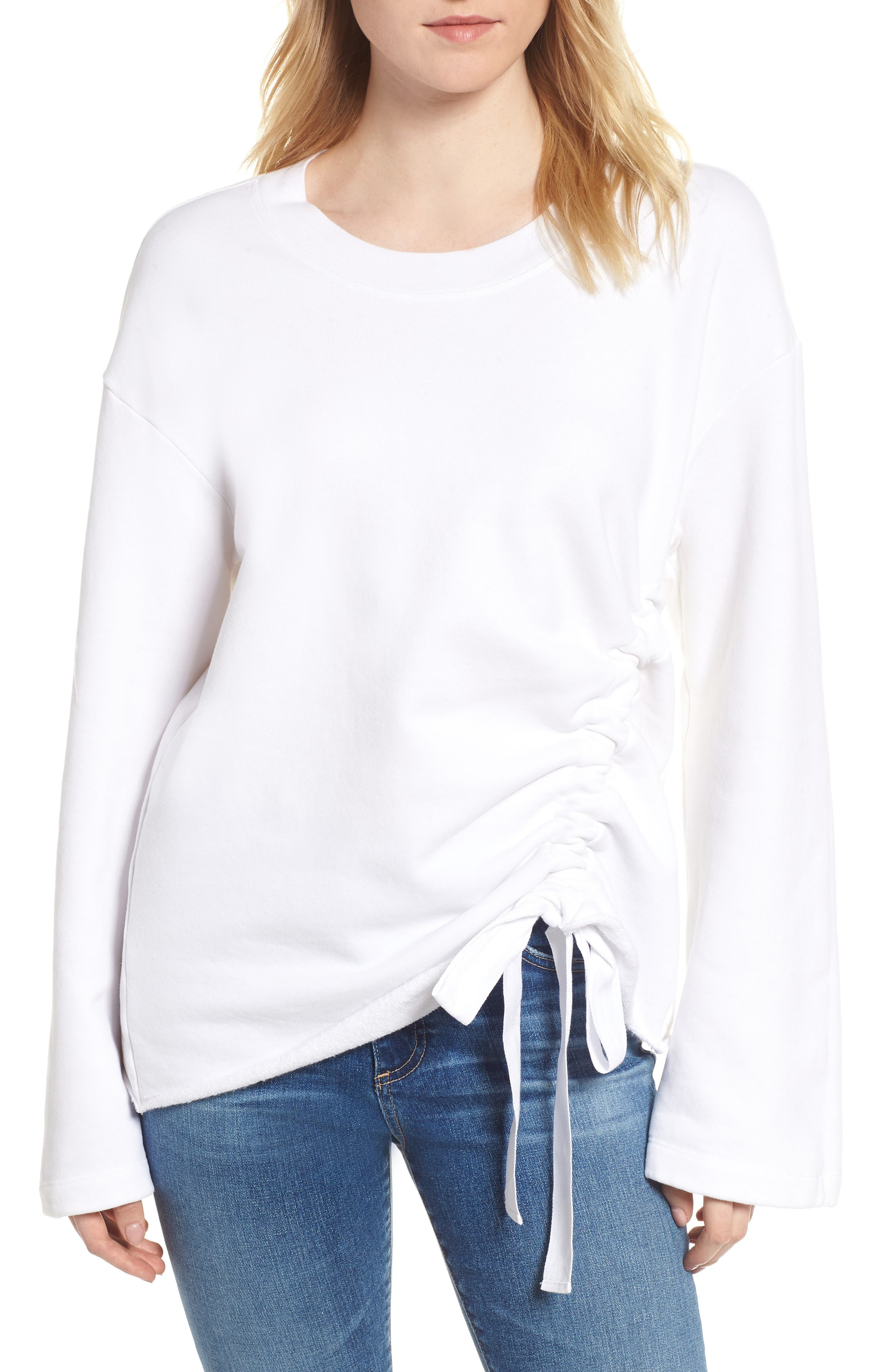 Gathered French Terry Sweatshirt,                             Main thumbnail 1, color,                             White
