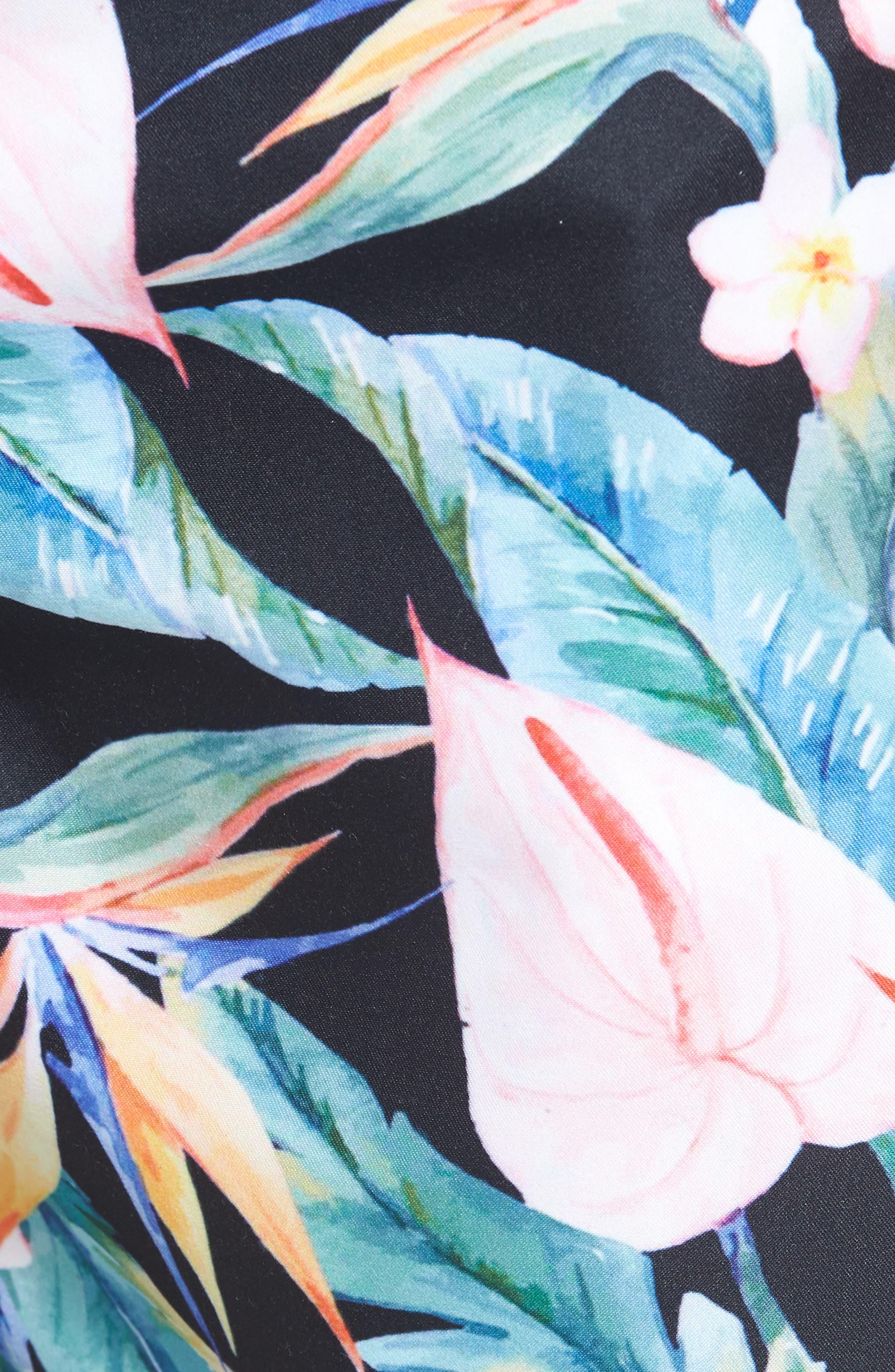 Floral Print Swim Trunks,                             Alternate thumbnail 5, color,                             Multi