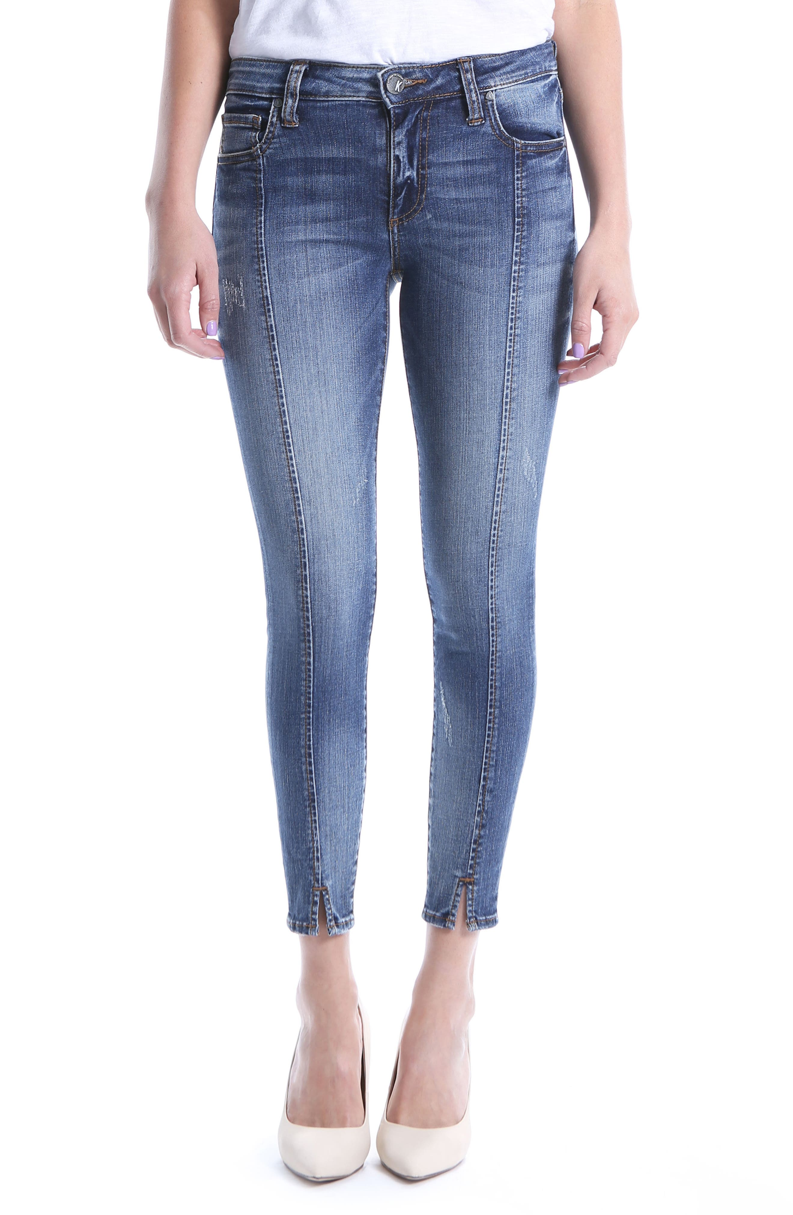 Distressed Seamed Skinny Jeans,                         Main,                         color, Poetic