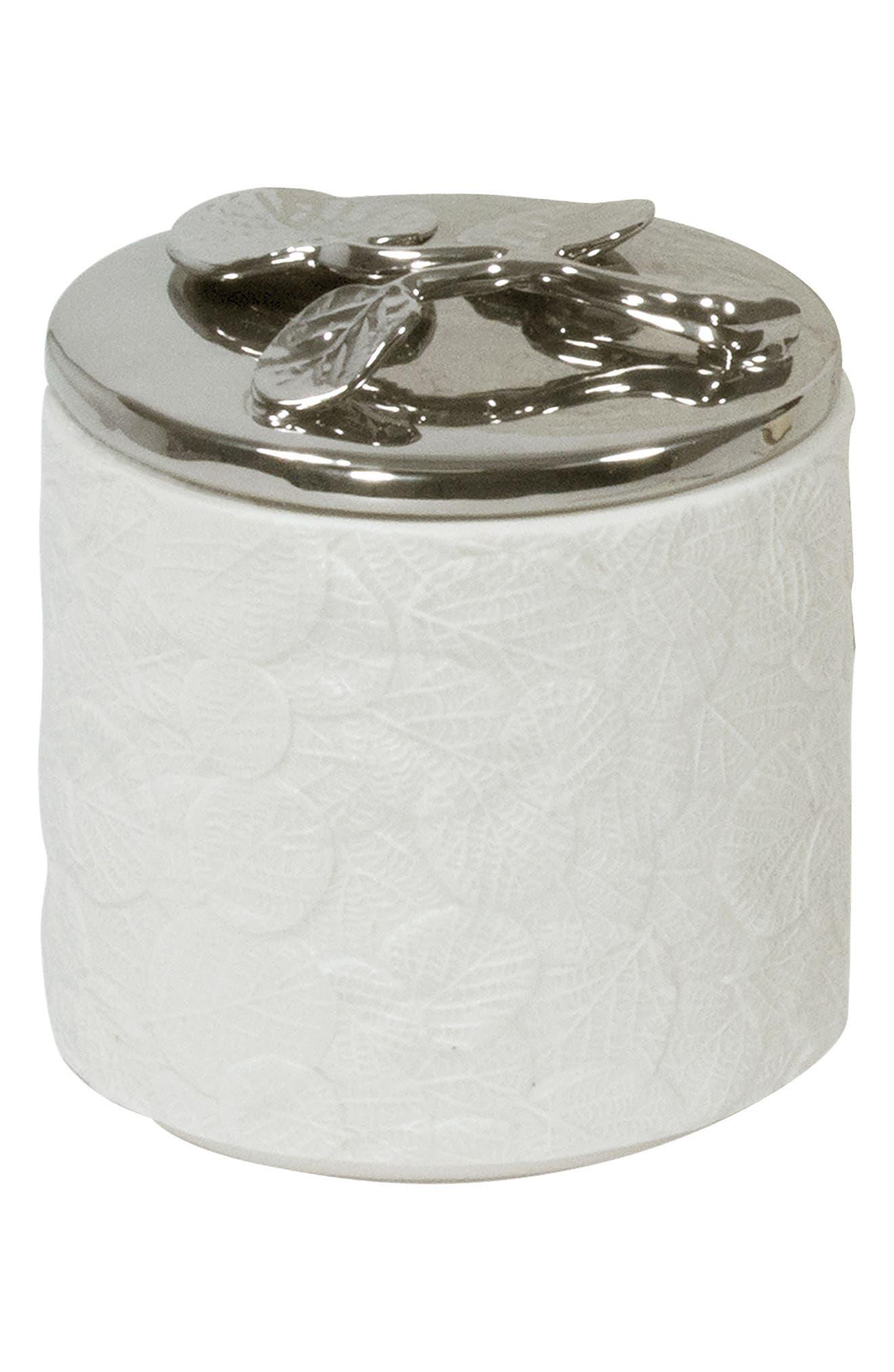 Botanical Leaf Porcelain Jar,                         Main,                         color, White