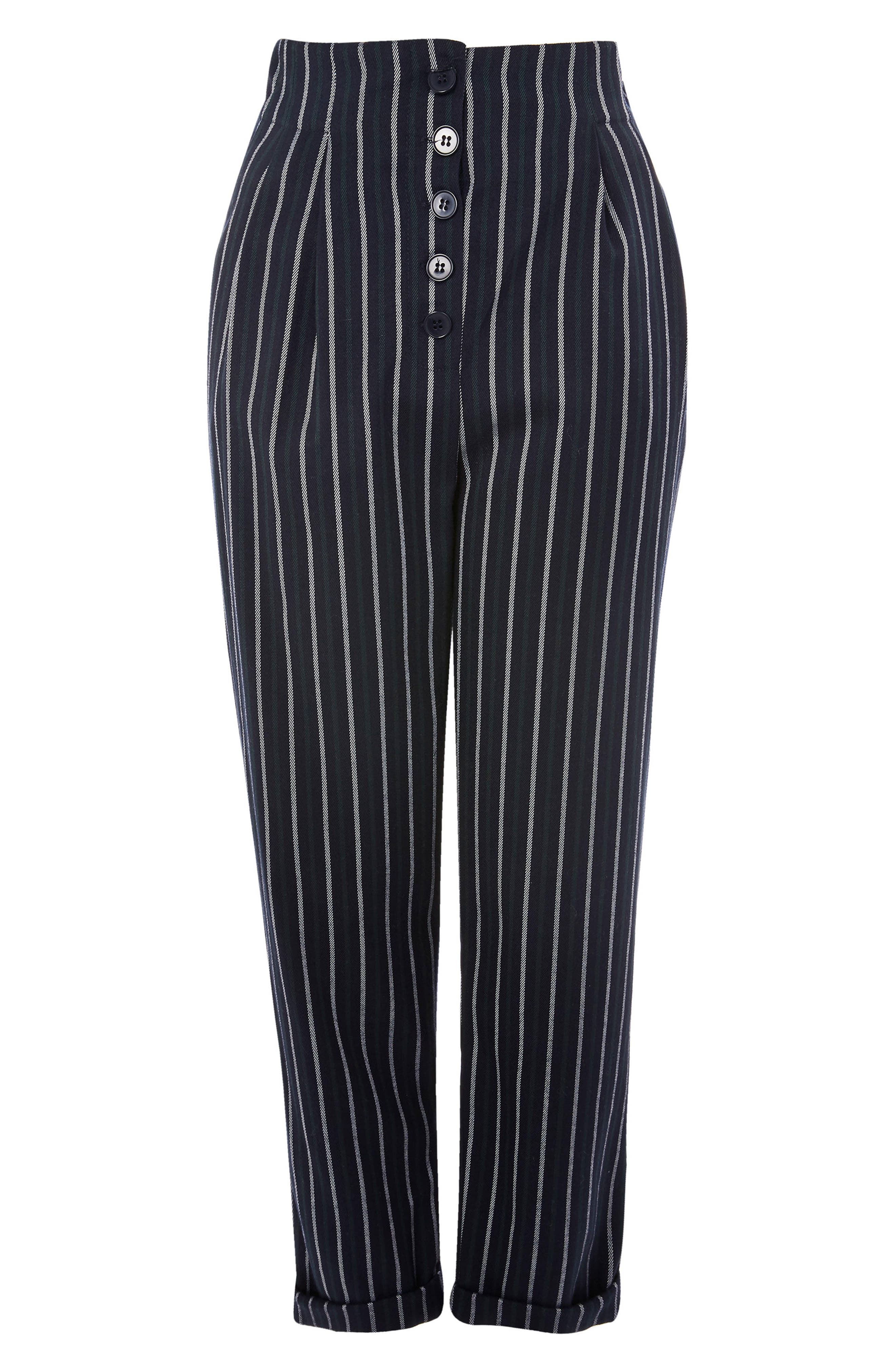 Button Front Stripe Tapered Trousers,                             Alternate thumbnail 4, color,                             Green Multi