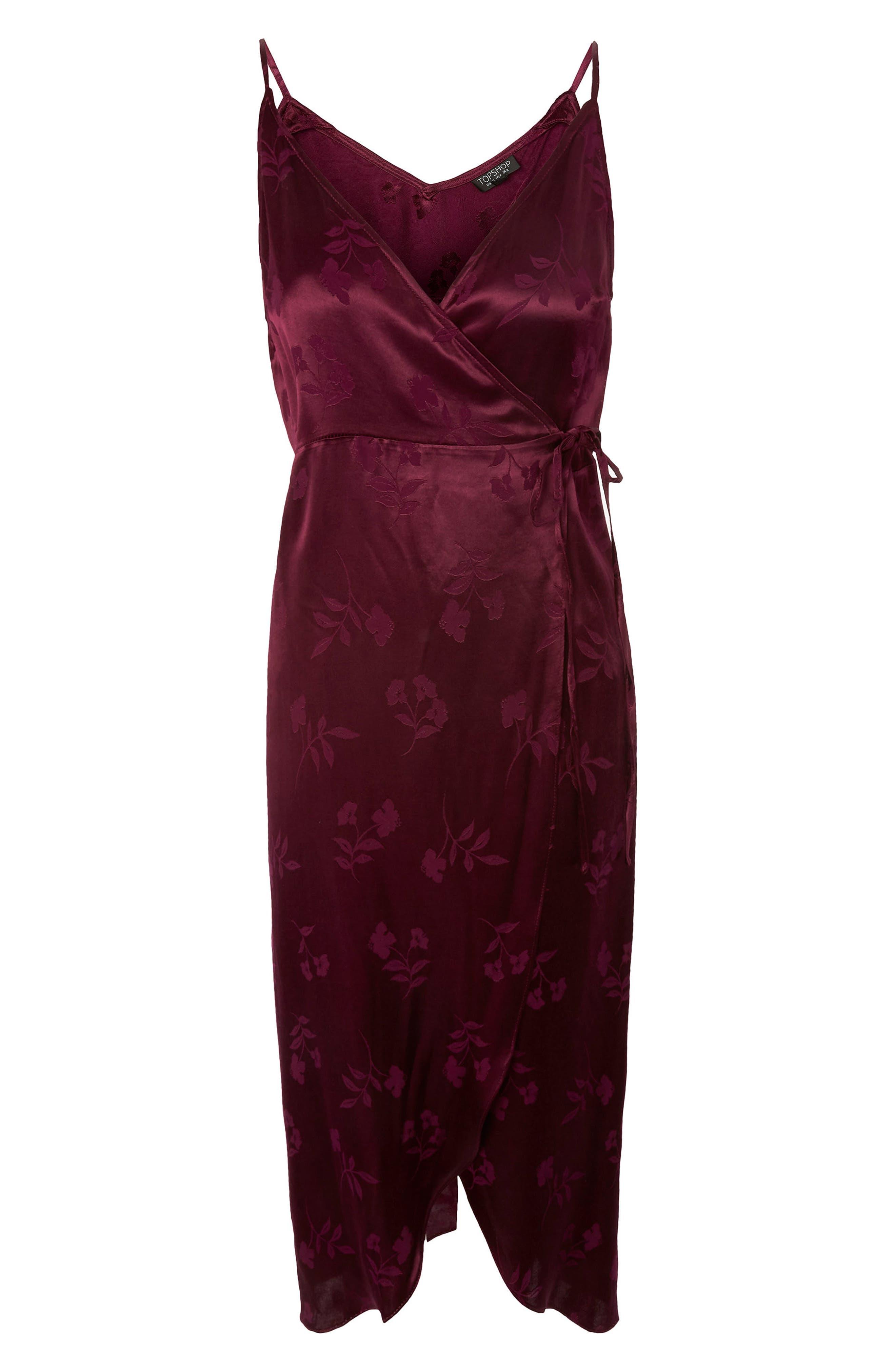 Jacquard Plunge Neck Wrap Dress,                             Alternate thumbnail 5, color,                             Burgundy