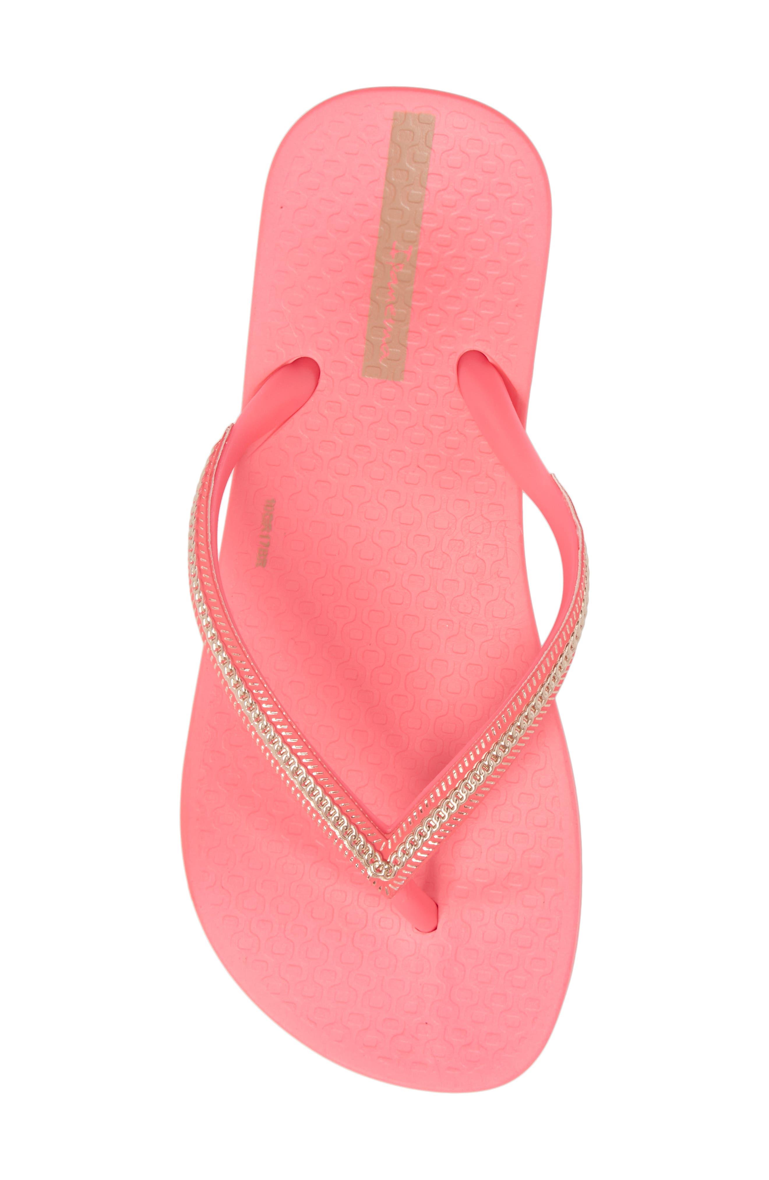 Ana Metallic Flip Flop,                             Alternate thumbnail 5, color,                             Pink Neon/ Rose