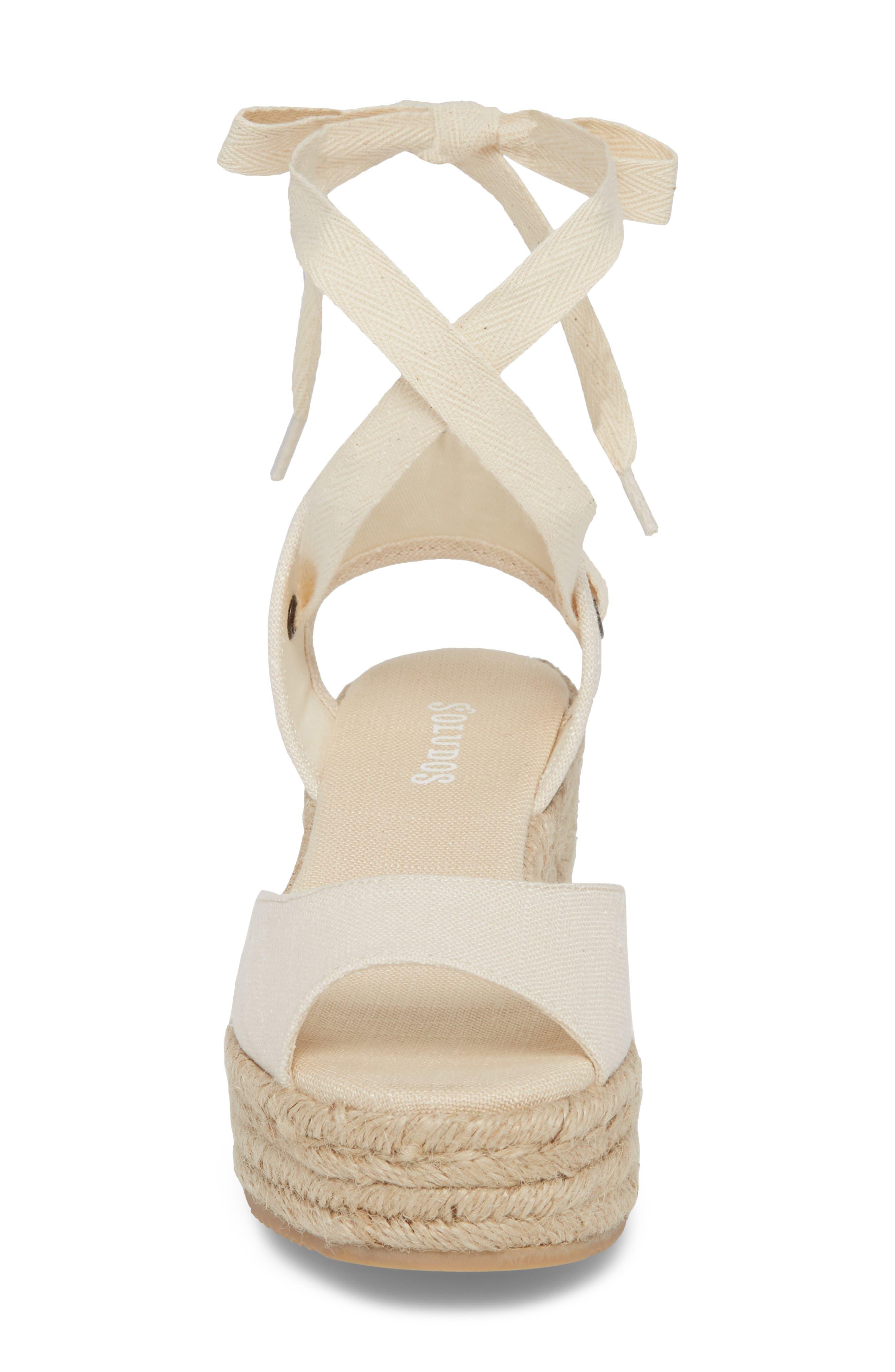 Espadrille Platform Sandal,                             Alternate thumbnail 4, color,                             Blush Fabric