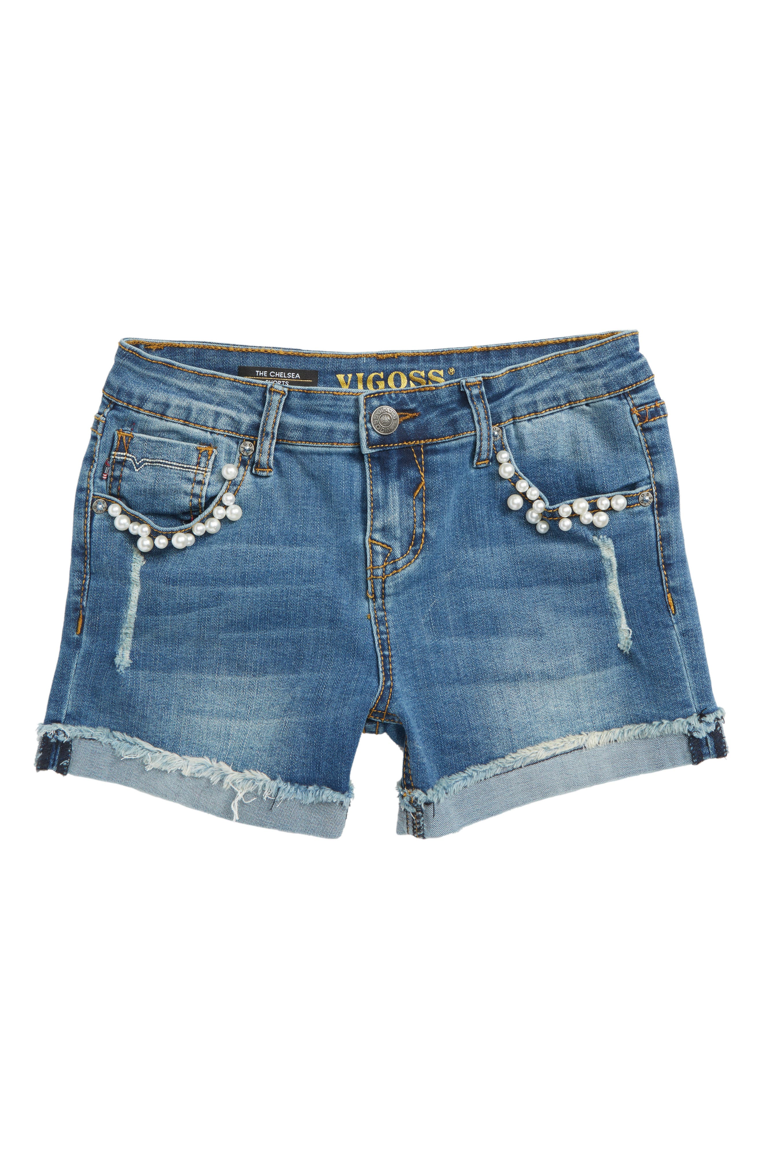 Imitation Pearl Frayed Denim Shorts,                             Main thumbnail 1, color,                             Regal Blue