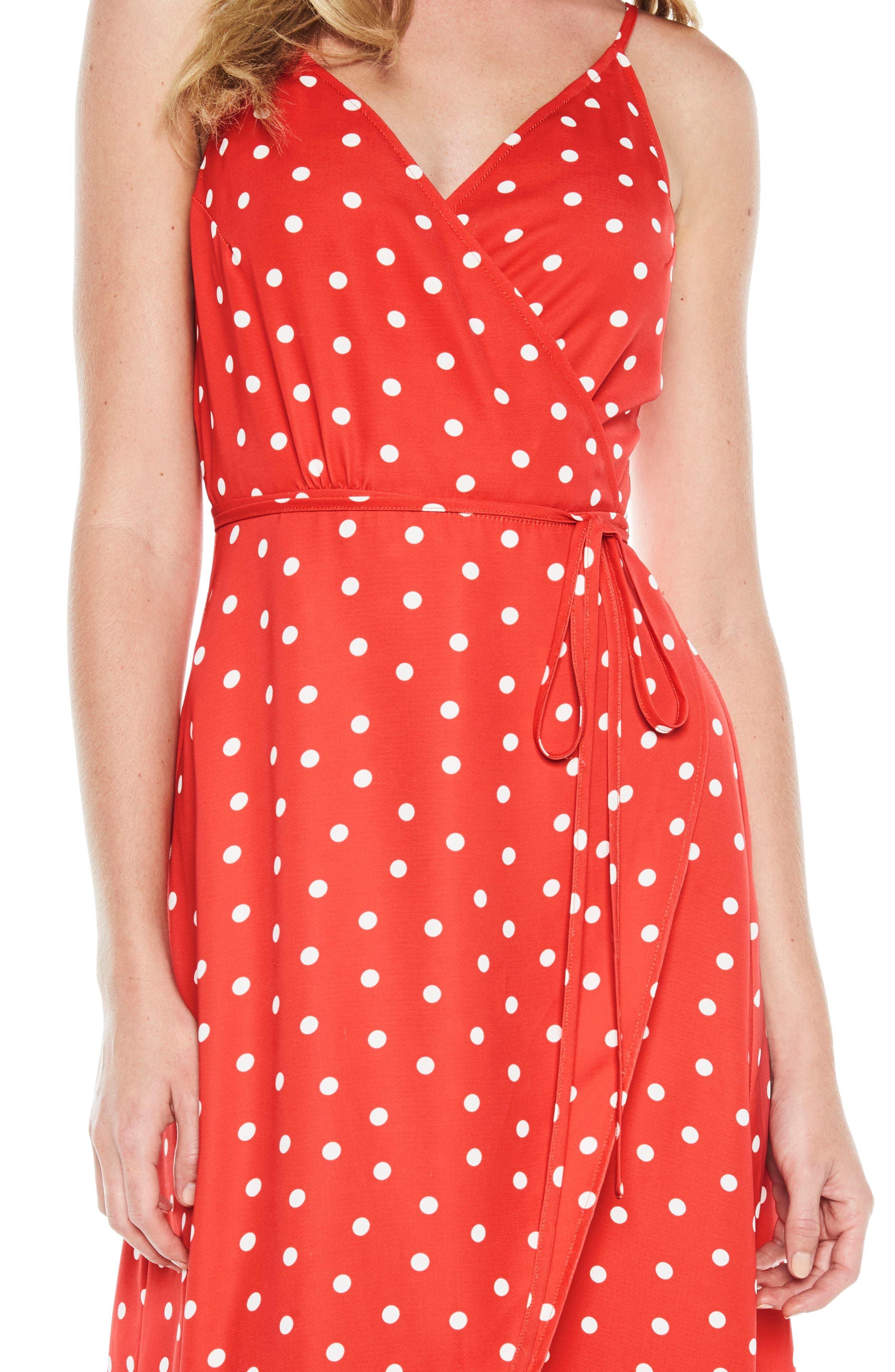Dotted Wrap Dress,                             Alternate thumbnail 5, color,                             Red Spot