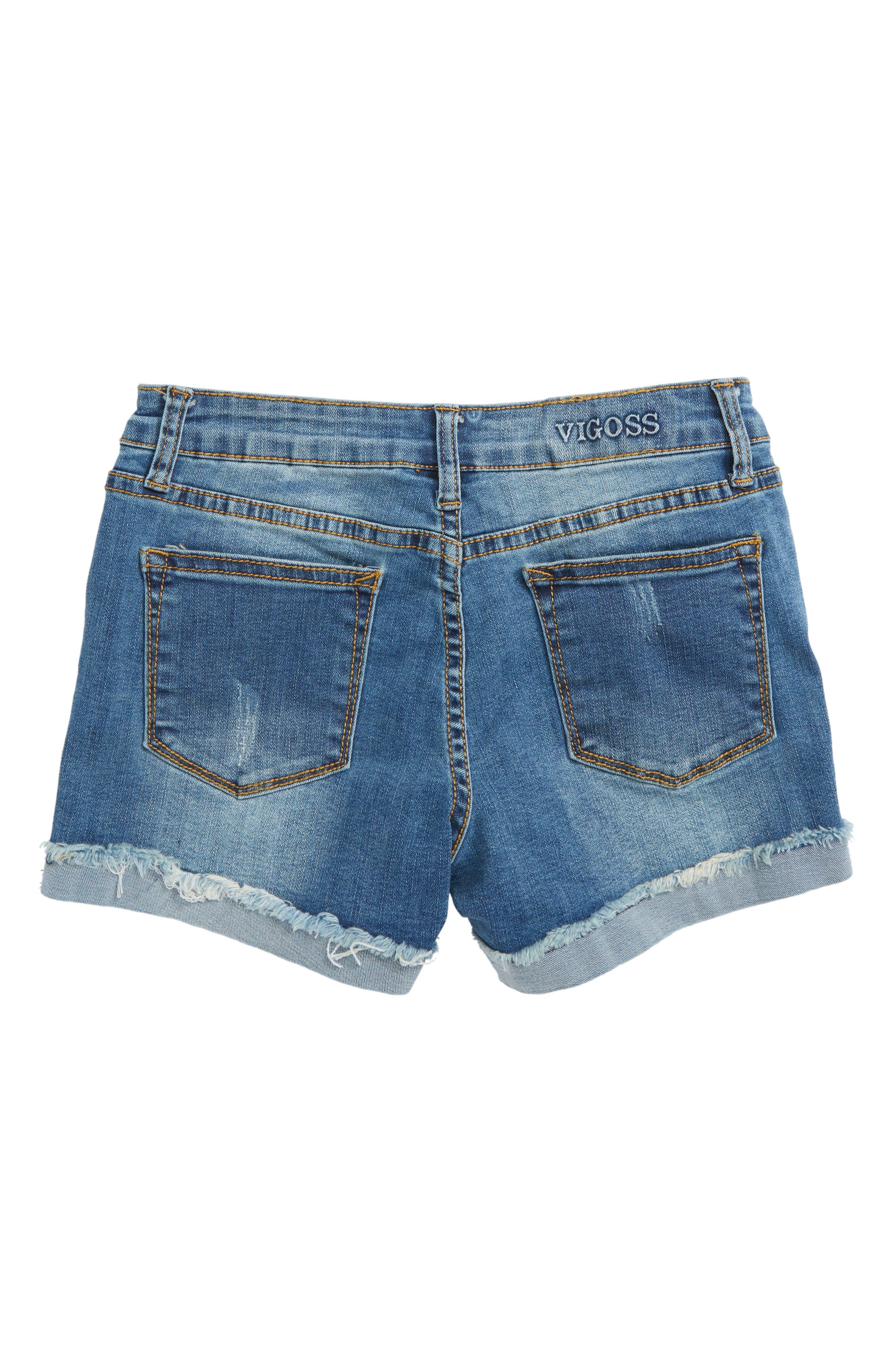 Imitation Pearl Frayed Denim Shorts,                             Alternate thumbnail 2, color,                             Regal Blue