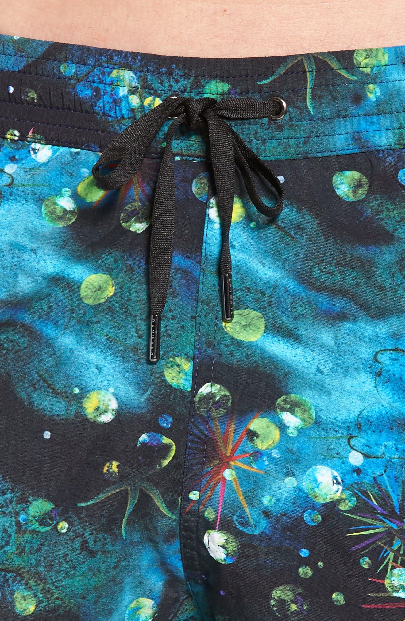Print Swim Trunks,                             Alternate thumbnail 4, color,                             Navy