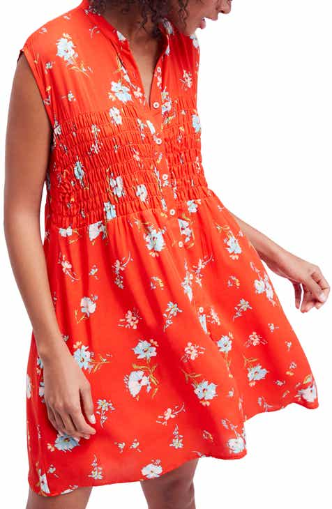 330099413371 Free People Greatest Day Smocked Minidress