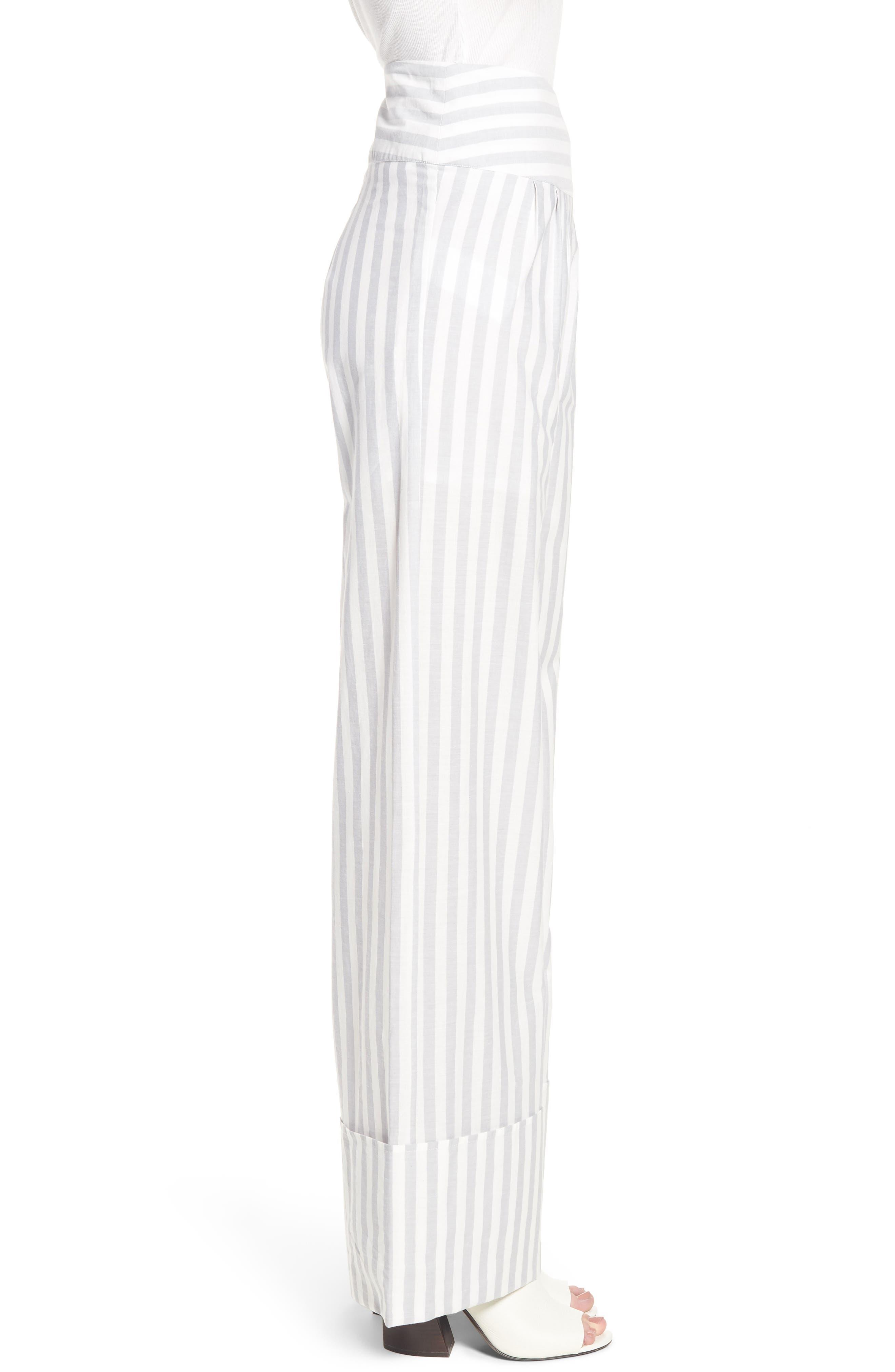 Wide Turn Up Stripe Trouser,                             Alternate thumbnail 4, color,                             Light Grey