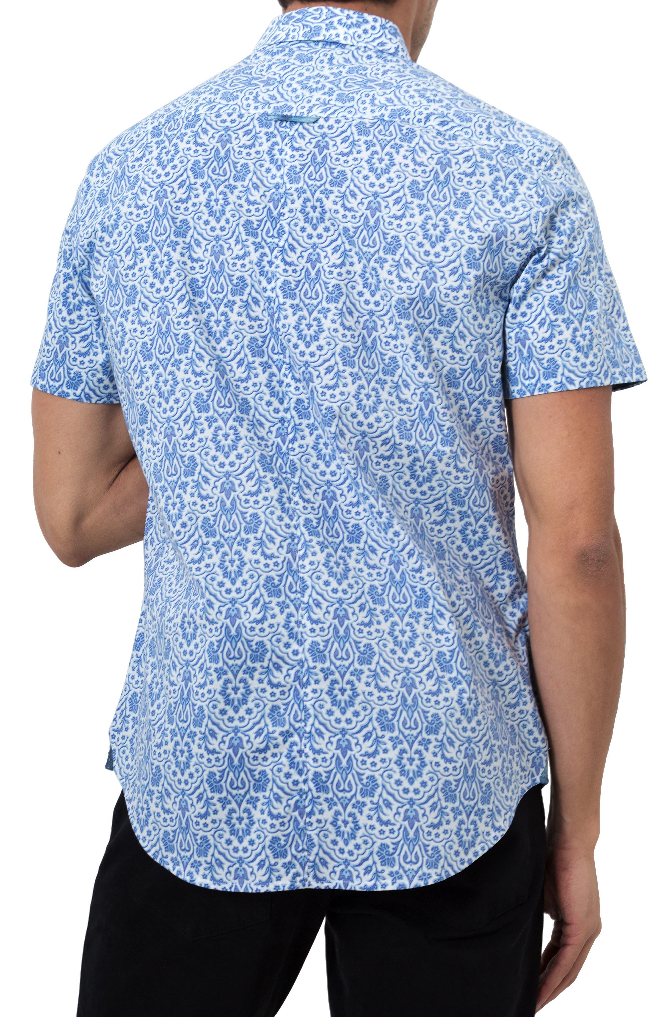 Route 66 Print Sport Shirt,                             Alternate thumbnail 2, color,                             Blue