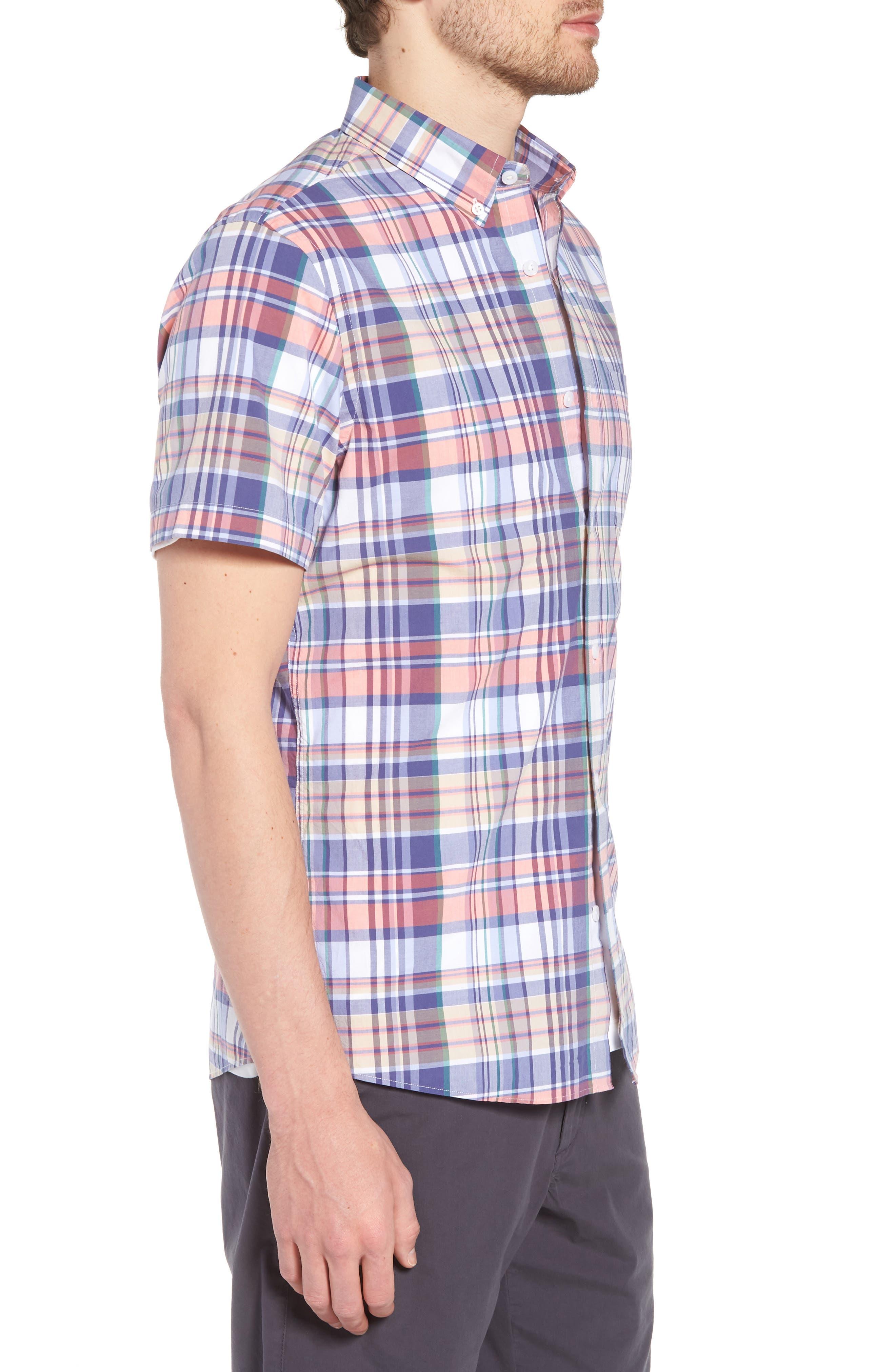 Trim Fit Plaid Short Sleeve Sport Shirt,                             Alternate thumbnail 3, color,                             Navy Coral Multi Plaid
