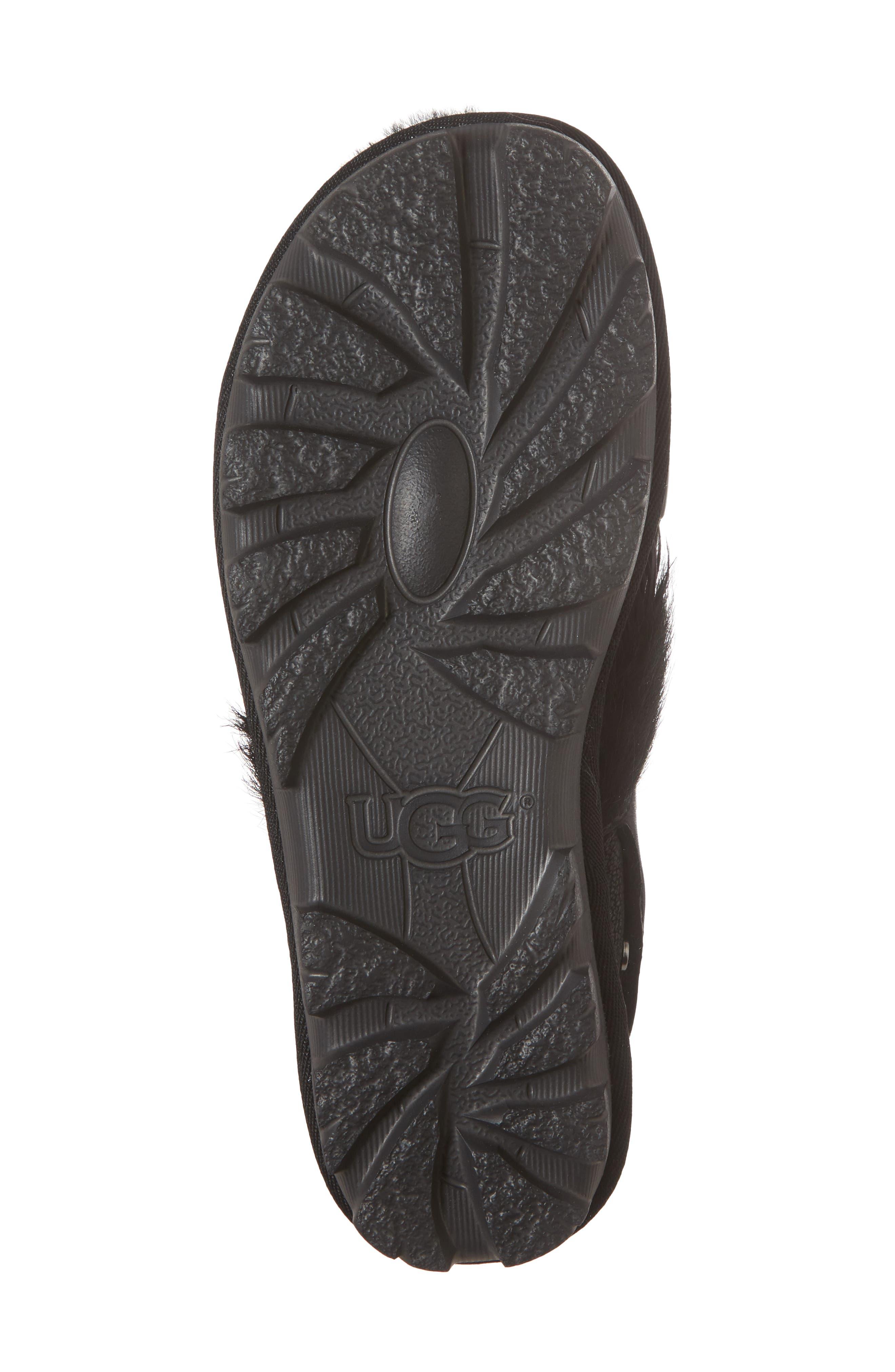 Biker Chic Genuine Shearling & Feather Sandal,                             Alternate thumbnail 6, color,                             Black Leather
