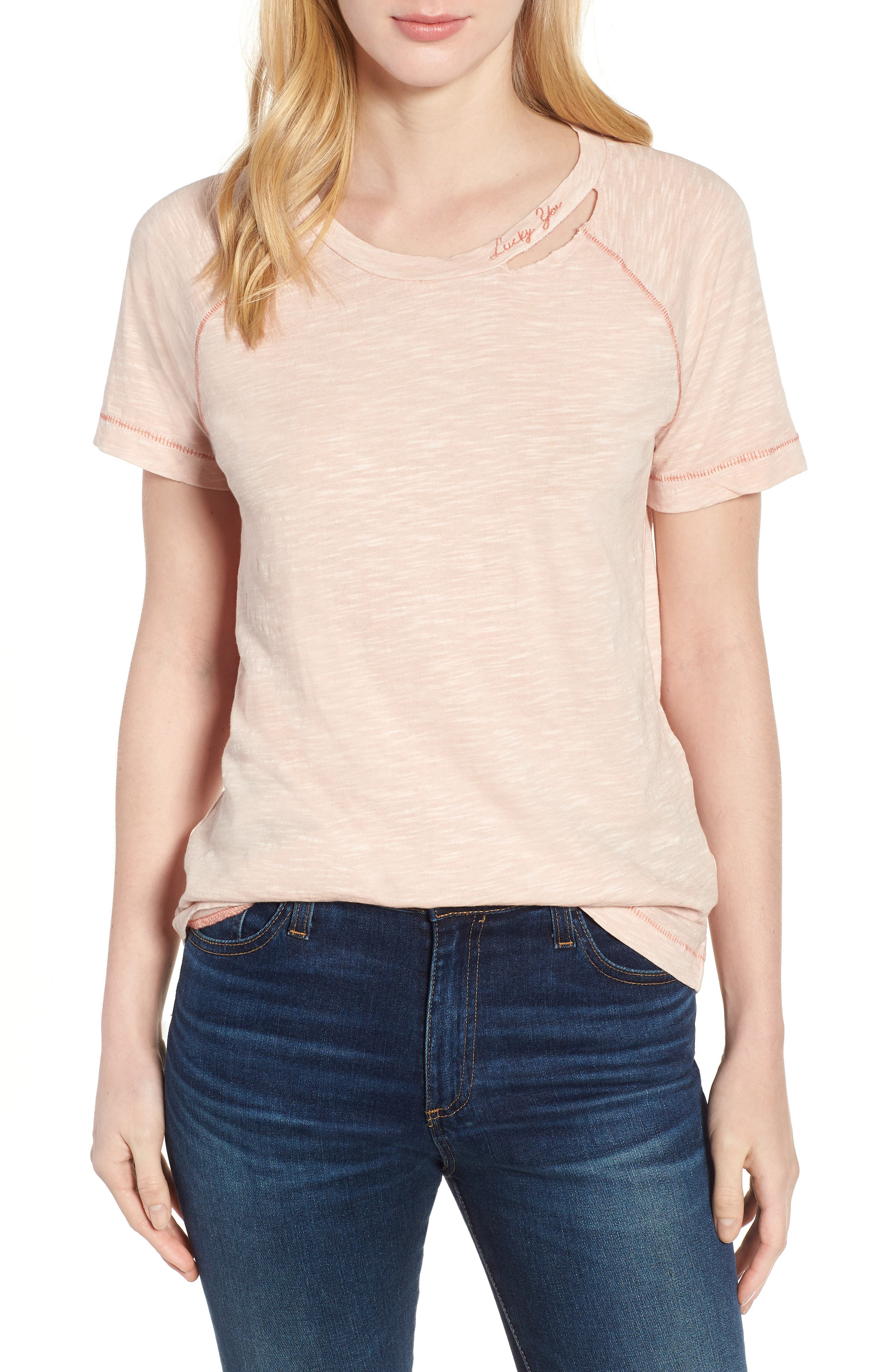 'Lucky You' Deconstructed Tee,                         Main,                         color, Peach Whip