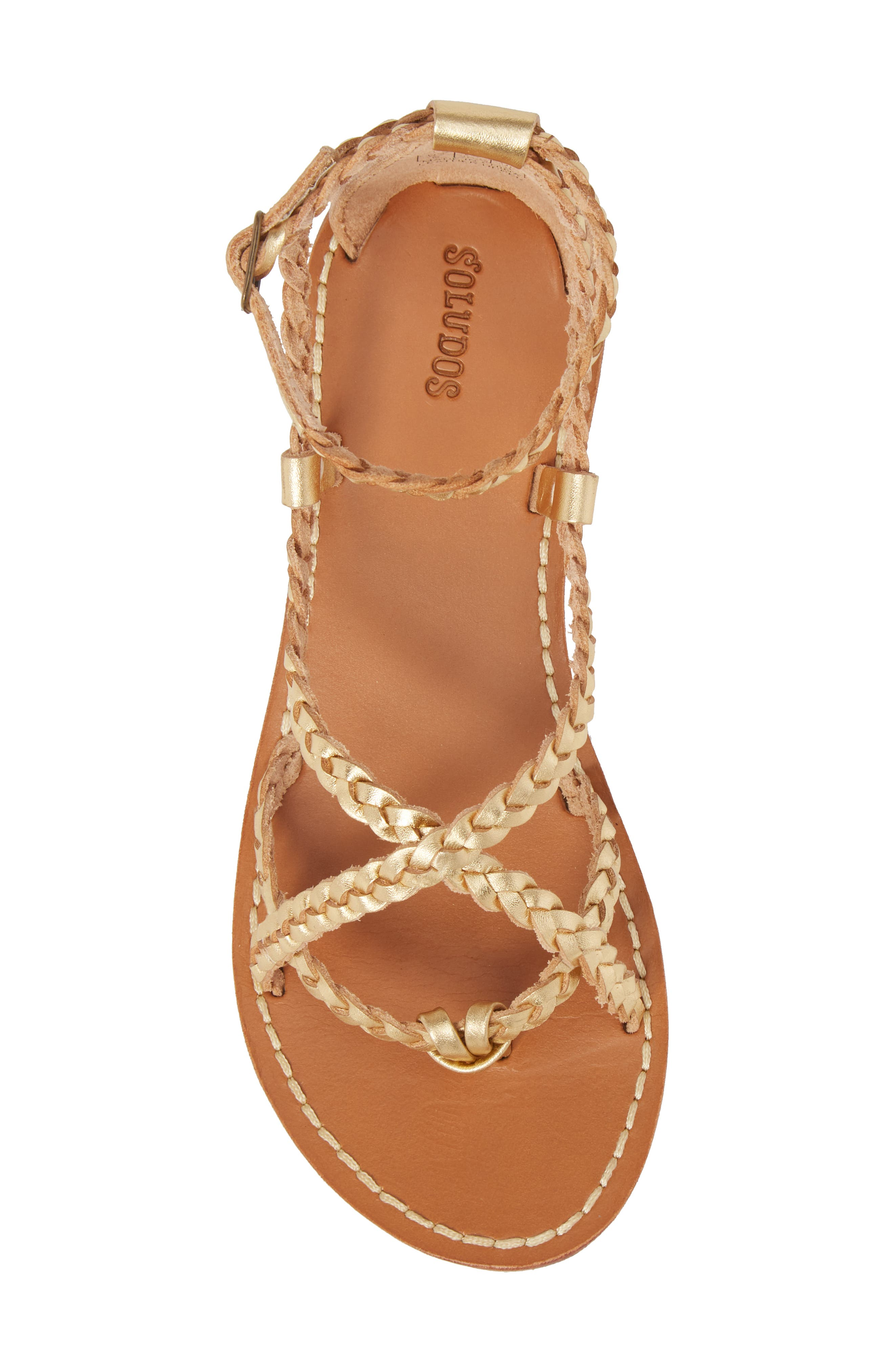 Amalfi Braided Metallic Sandal,                             Alternate thumbnail 5, color,                             Gold Leather