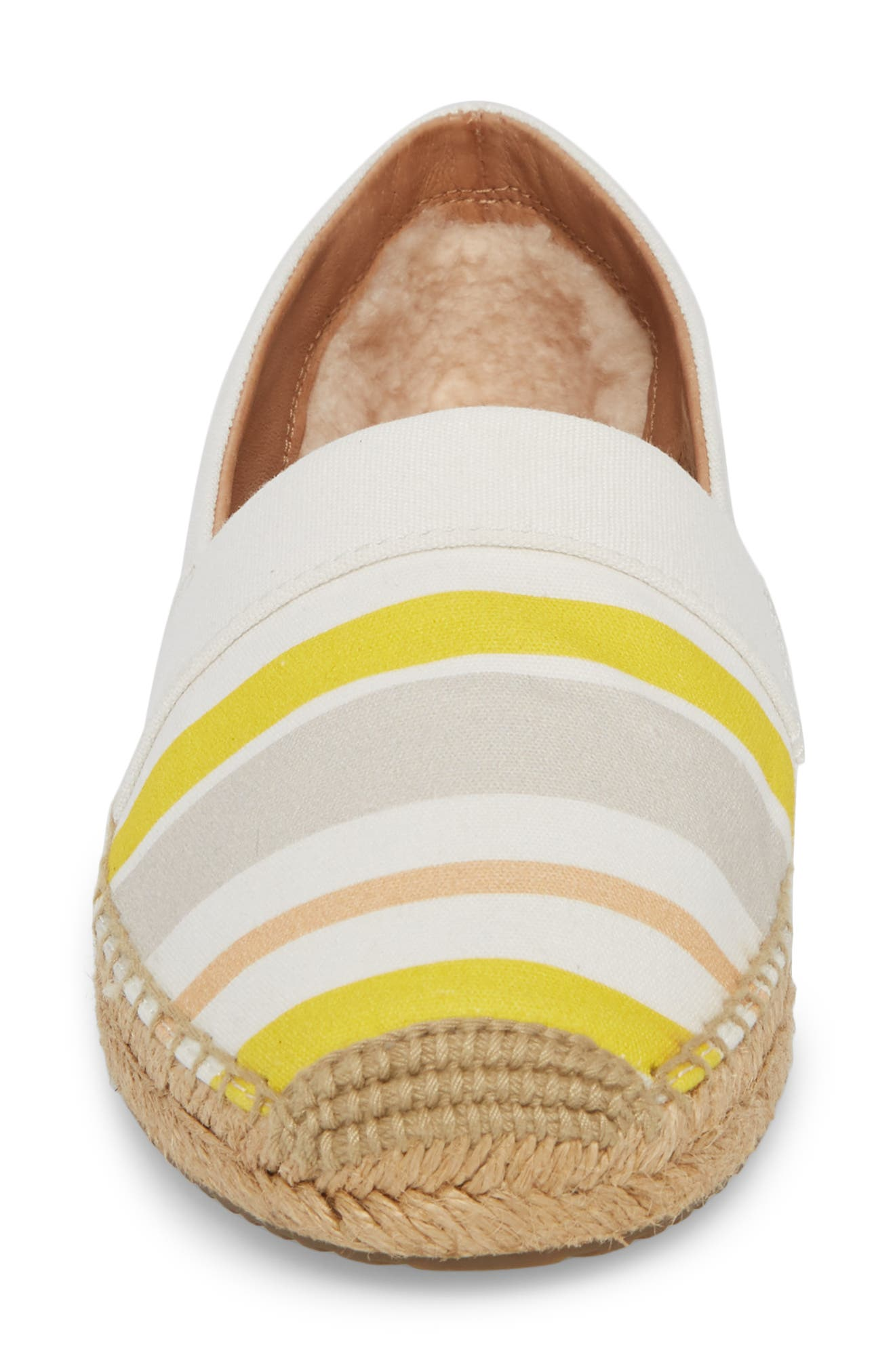 Reneda Stripe Espadrille Flat,                             Alternate thumbnail 4, color,                             White
