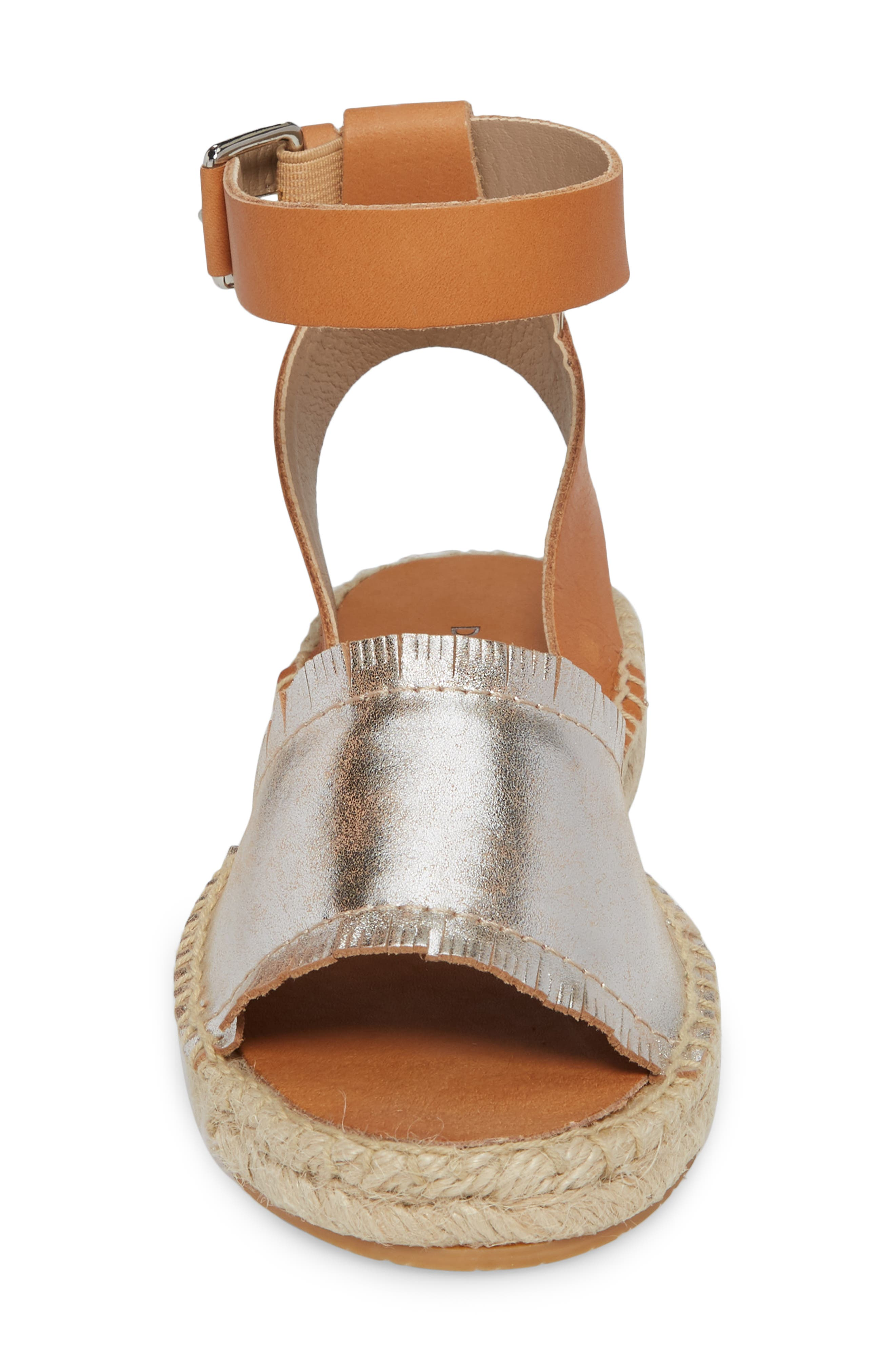 Rowen Espadrille Sandal,                             Alternate thumbnail 4, color,                             Silver Leather