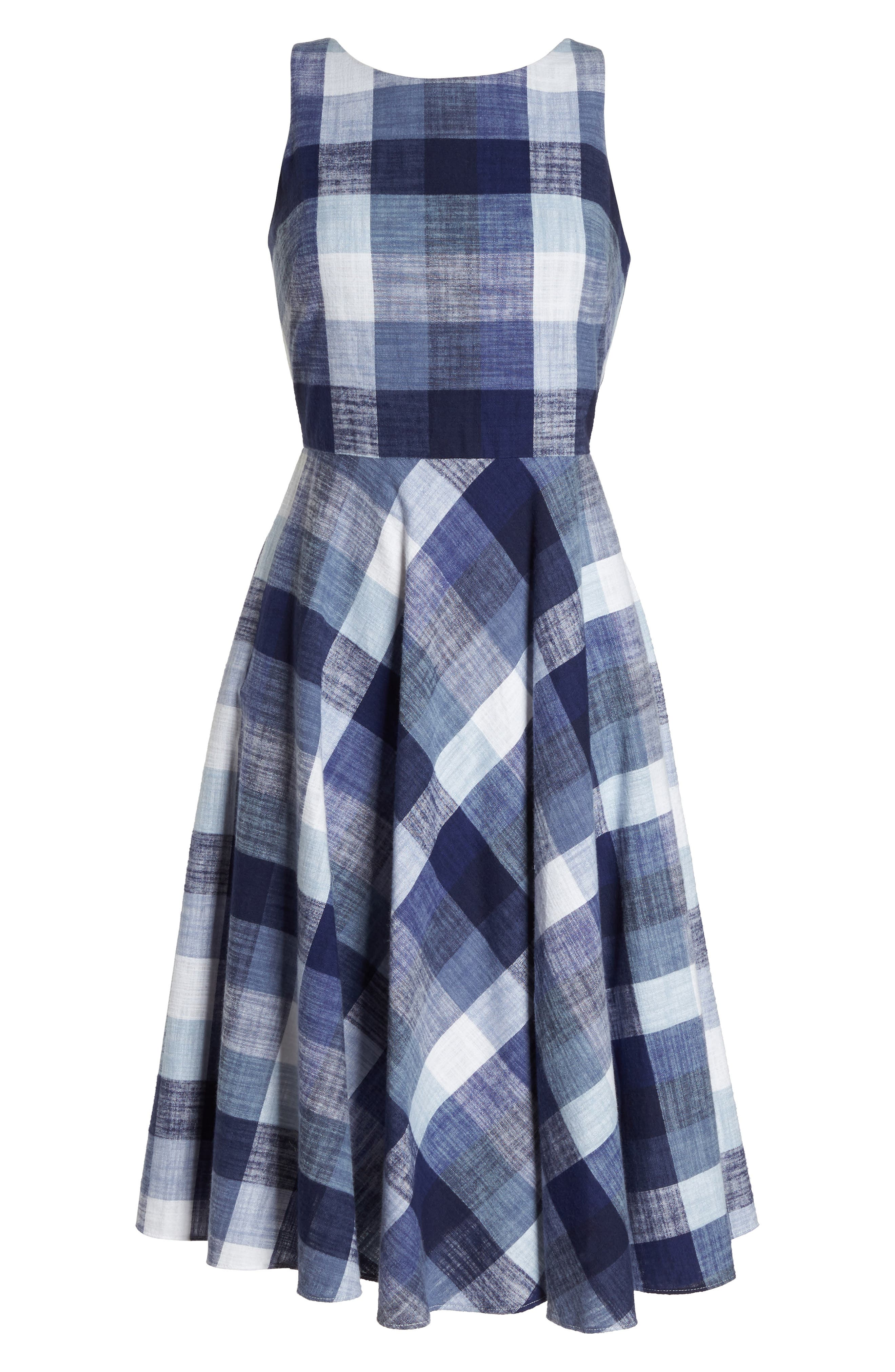 Check Fit & Flare Dress,                             Alternate thumbnail 7, color,                             Navy