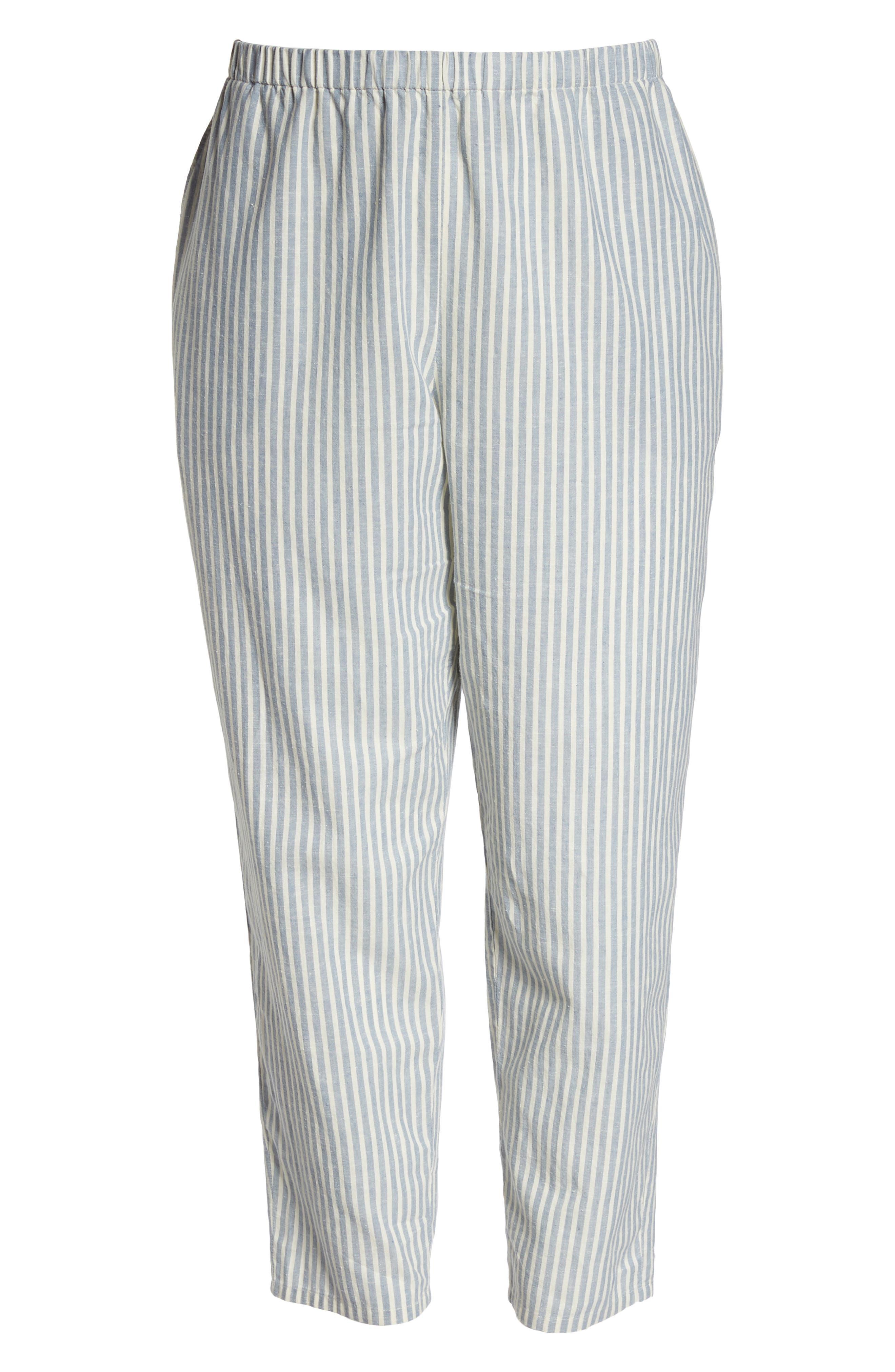 Stripe Ankle Hemp & Cotton Pants,                             Alternate thumbnail 7, color,                             Chambray