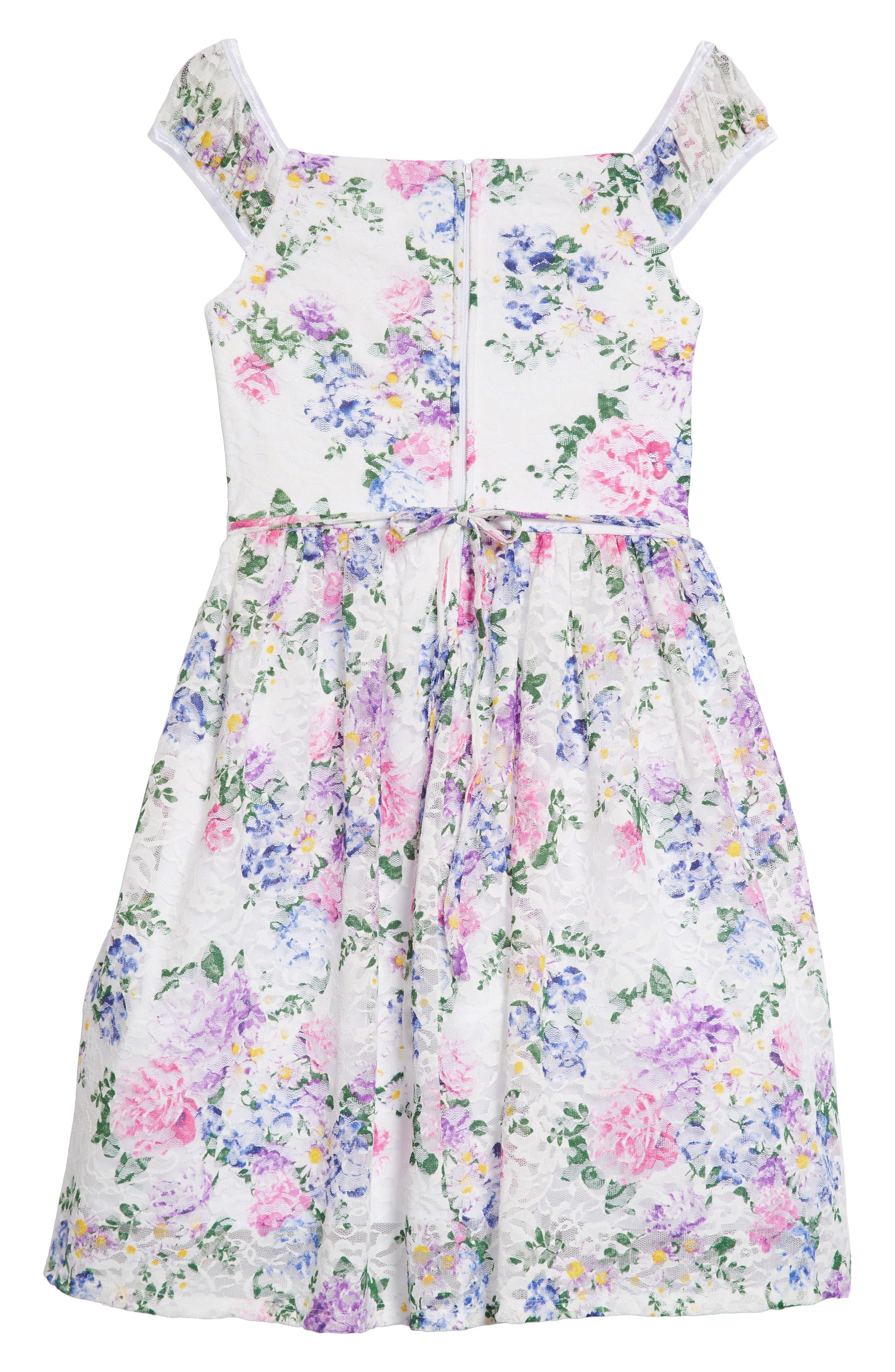 Floral Lace Dress,                             Alternate thumbnail 2, color,                             White/ Lavendar