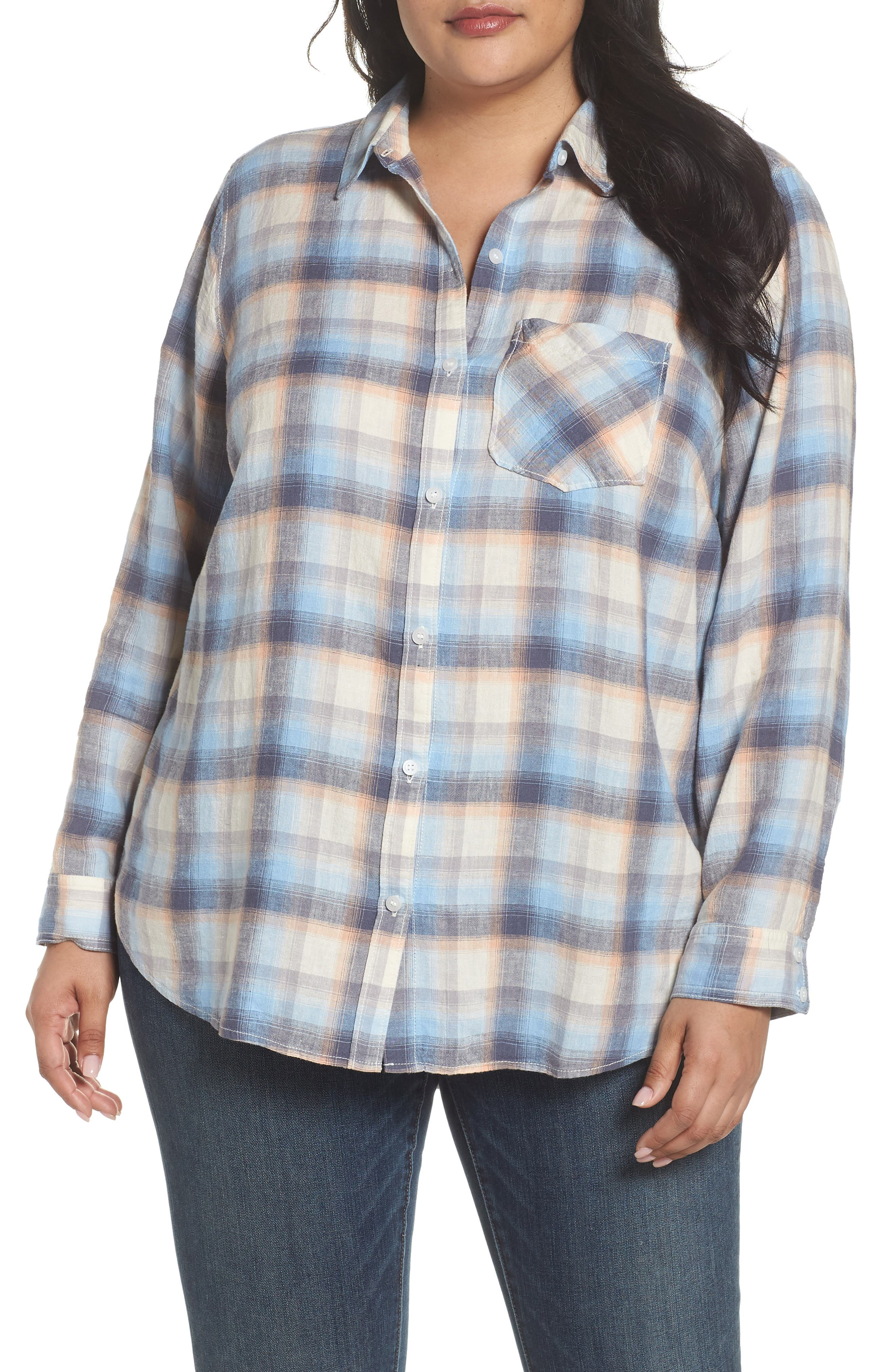 Plaid Linen Blend Shirt,                             Main thumbnail 1, color,                             Blue Plaid