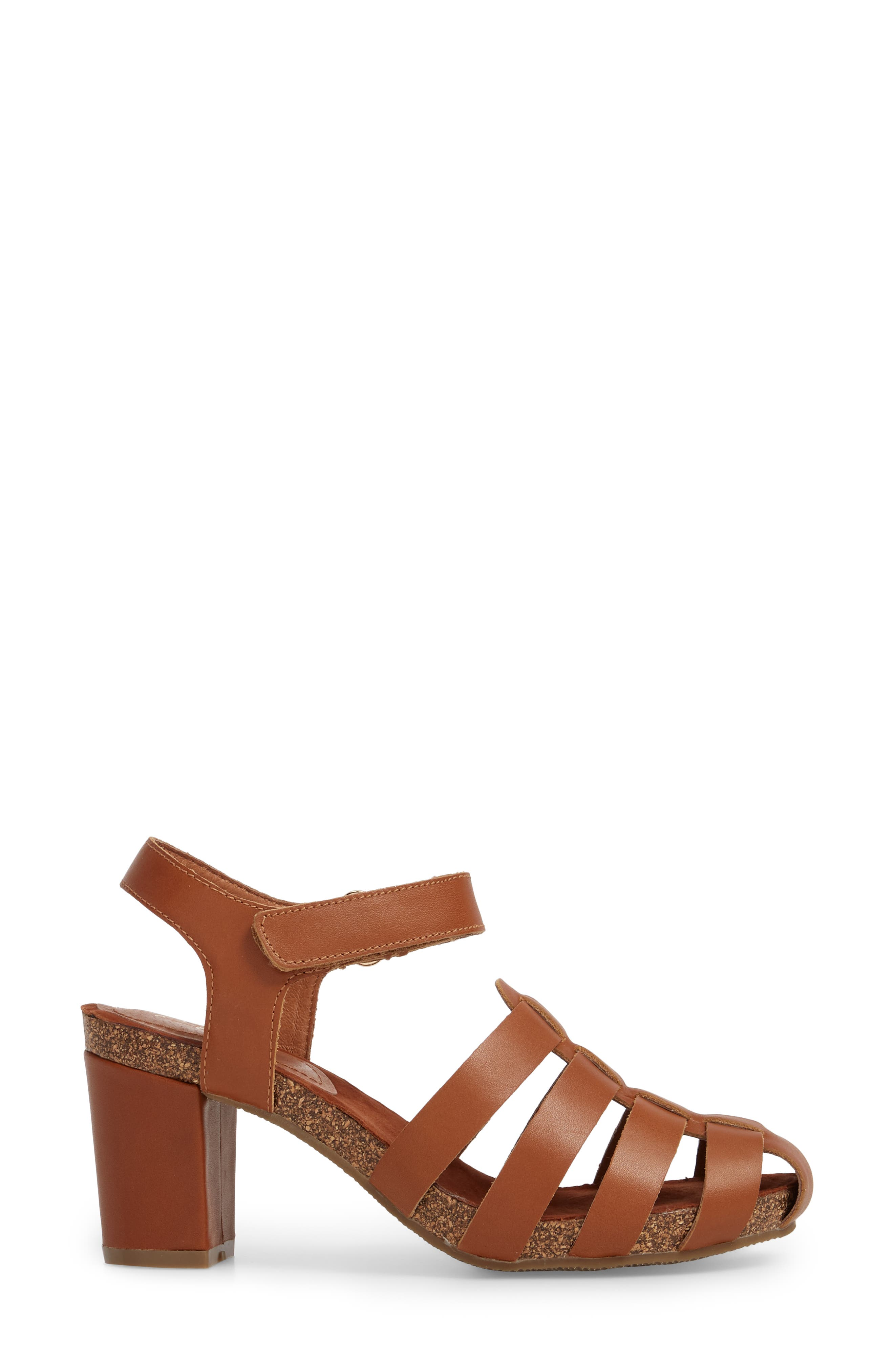 Carrara Block Heel Sandal,                             Alternate thumbnail 3, color,                             Cognac Leather