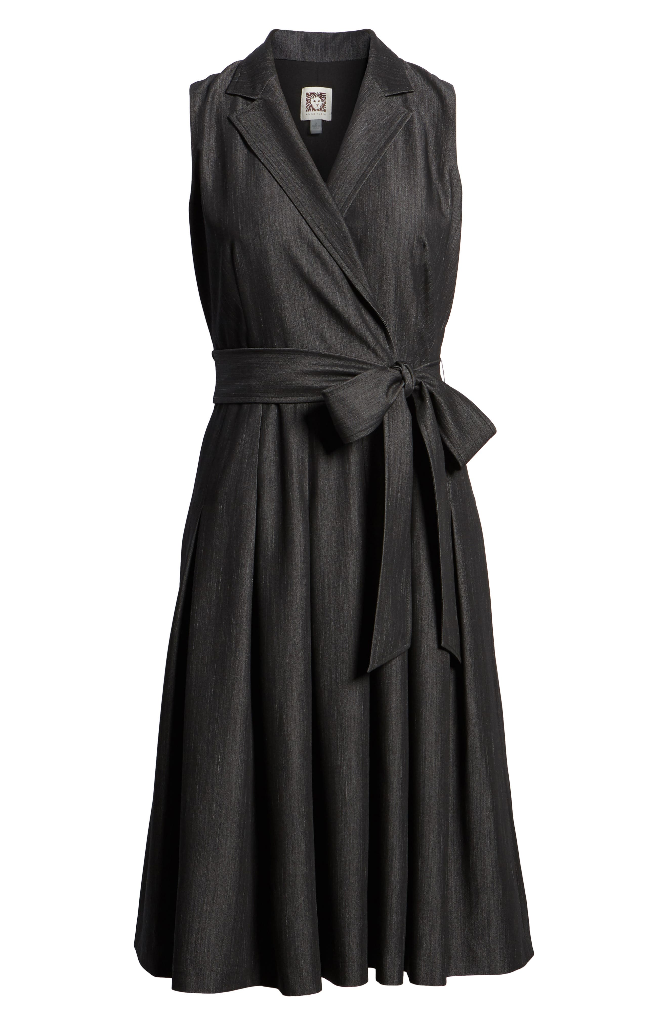 Notch Collar Stretch Denim Dress,                             Alternate thumbnail 6, color,                             Black