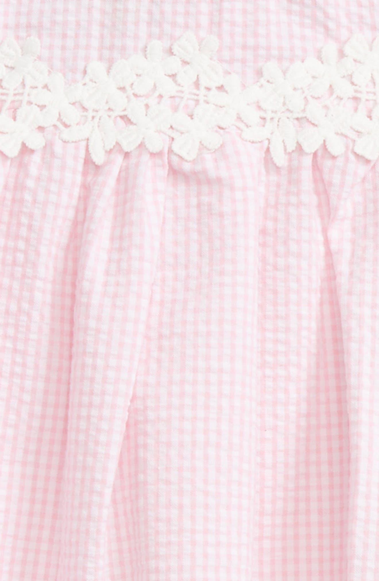 Seersucker Cold Shoulder Dress,                             Alternate thumbnail 3, color,                             Pink White