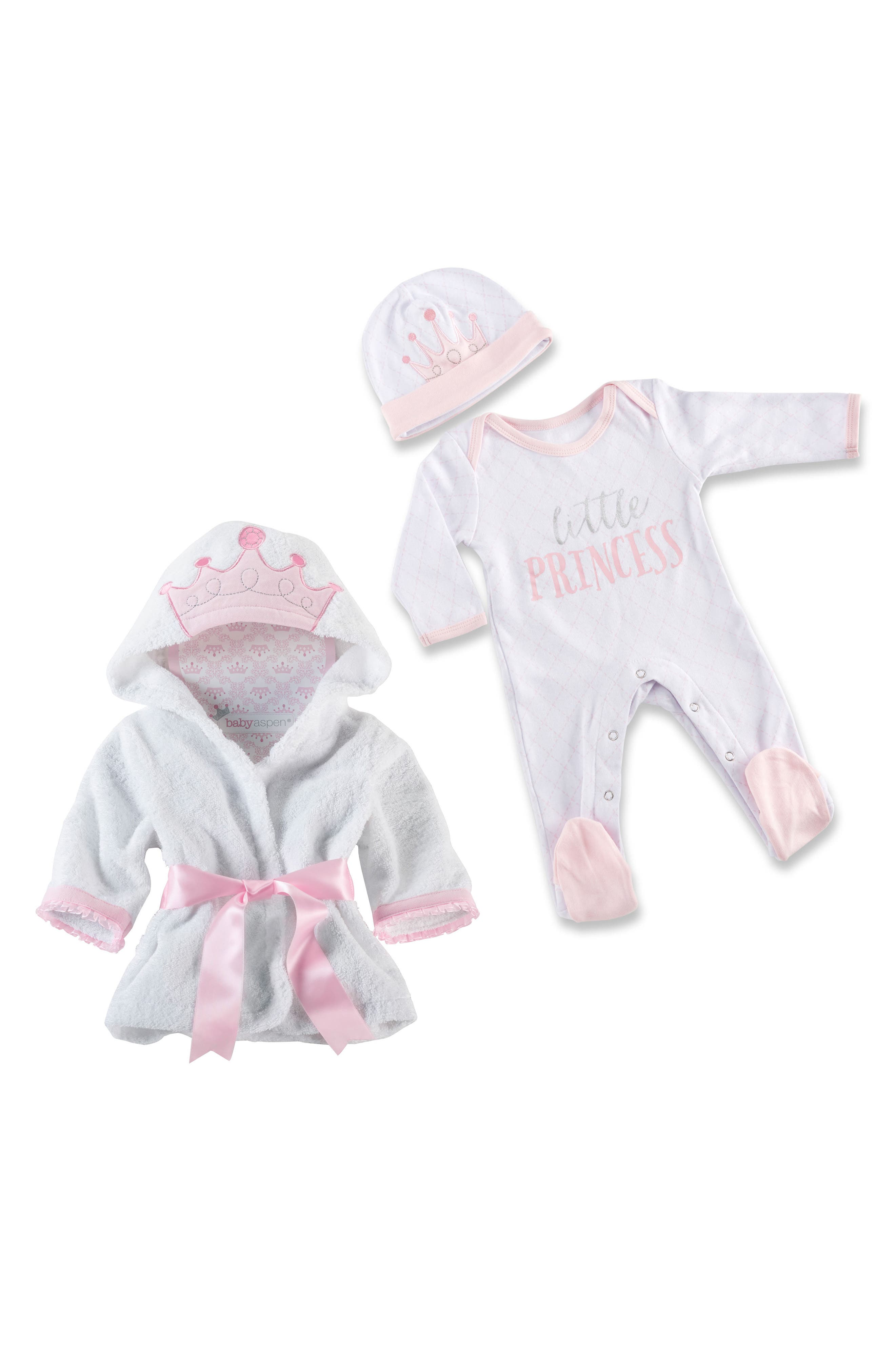 Little Princess Plush Robe, One-Piece Pajamas & Hat Set,                         Main,                         color, Pink/ White