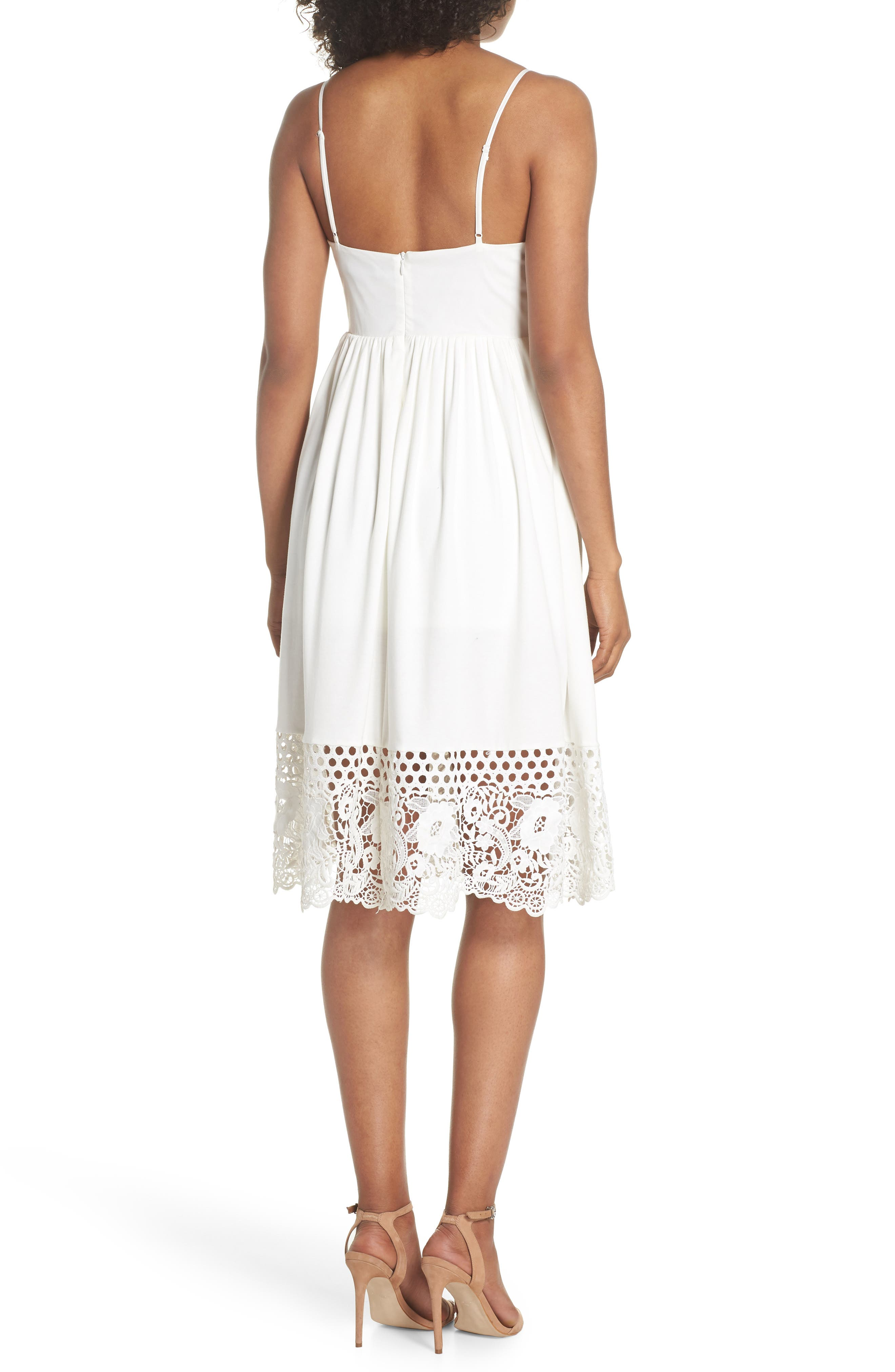 Salerno Lace Trim Jersey Dress,                             Alternate thumbnail 2, color,                             Summer White/ Summer White