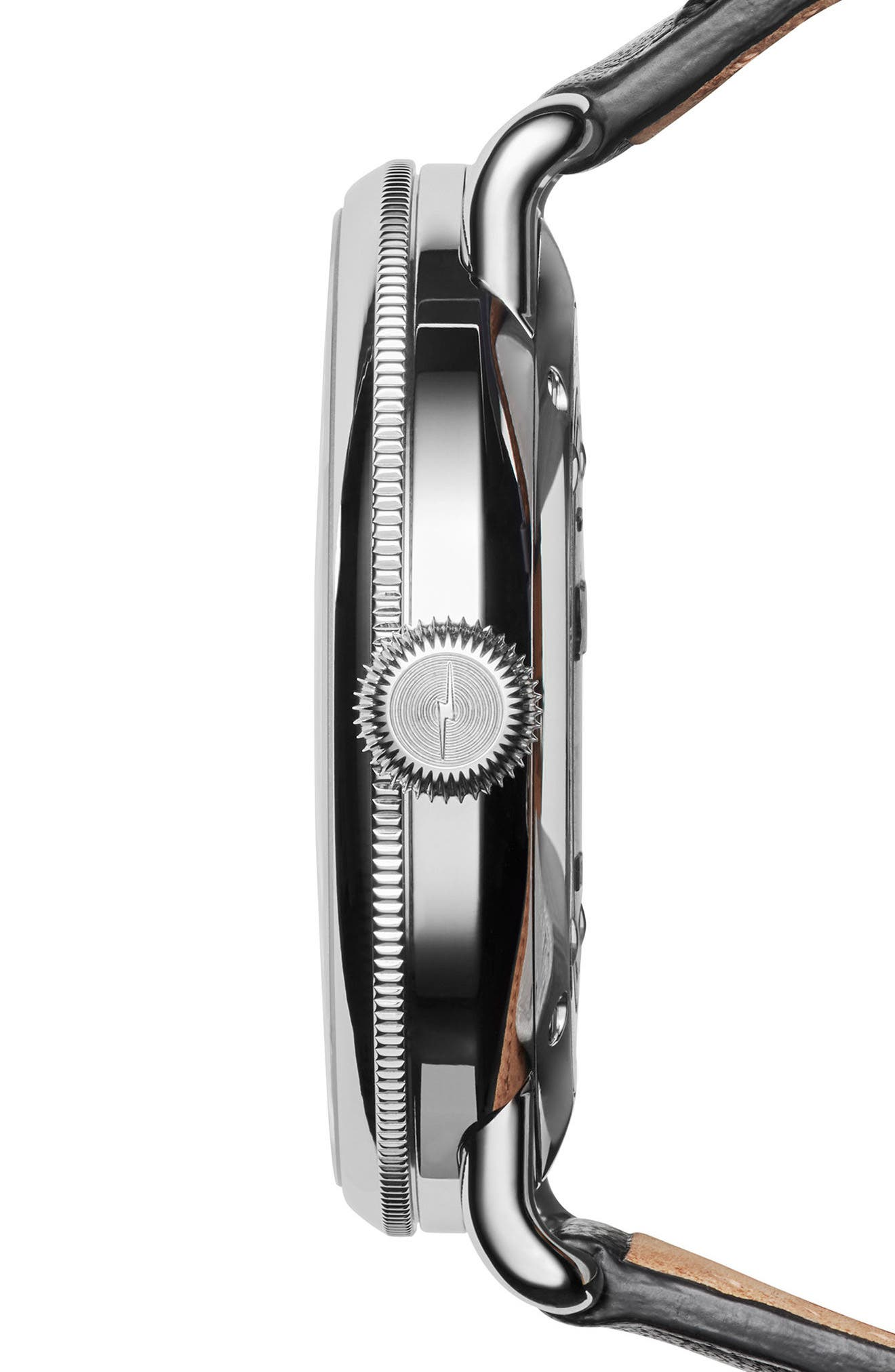 The Canfield Alligator Strap Watch, 43mm,                             Alternate thumbnail 3, color,                             Black/ Silver