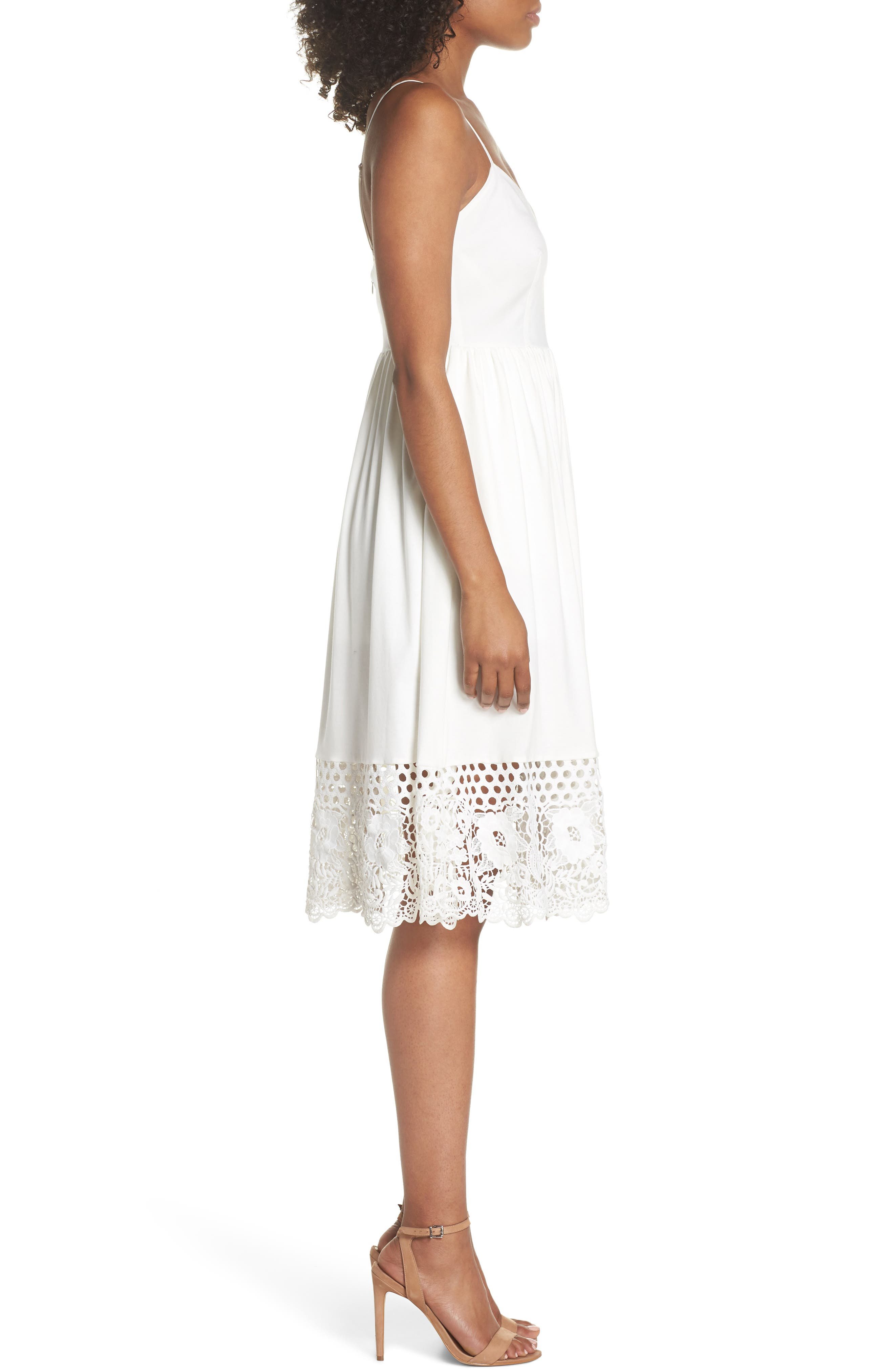 Salerno Lace Trim Jersey Dress,                             Alternate thumbnail 3, color,                             Summer White/ Summer White