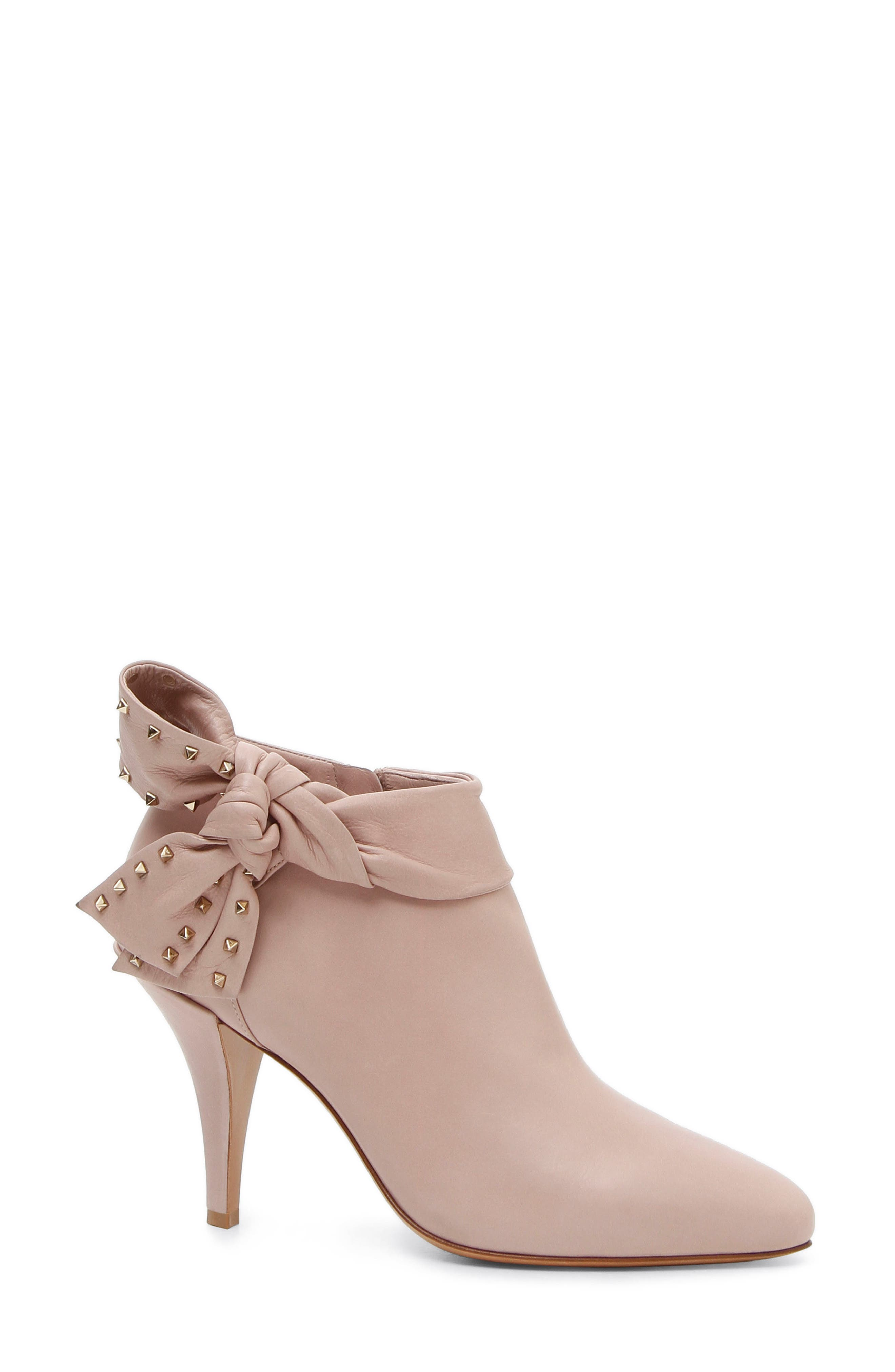 Studded Bow Ankle Bootie,                             Main thumbnail 1, color,                             Poudre