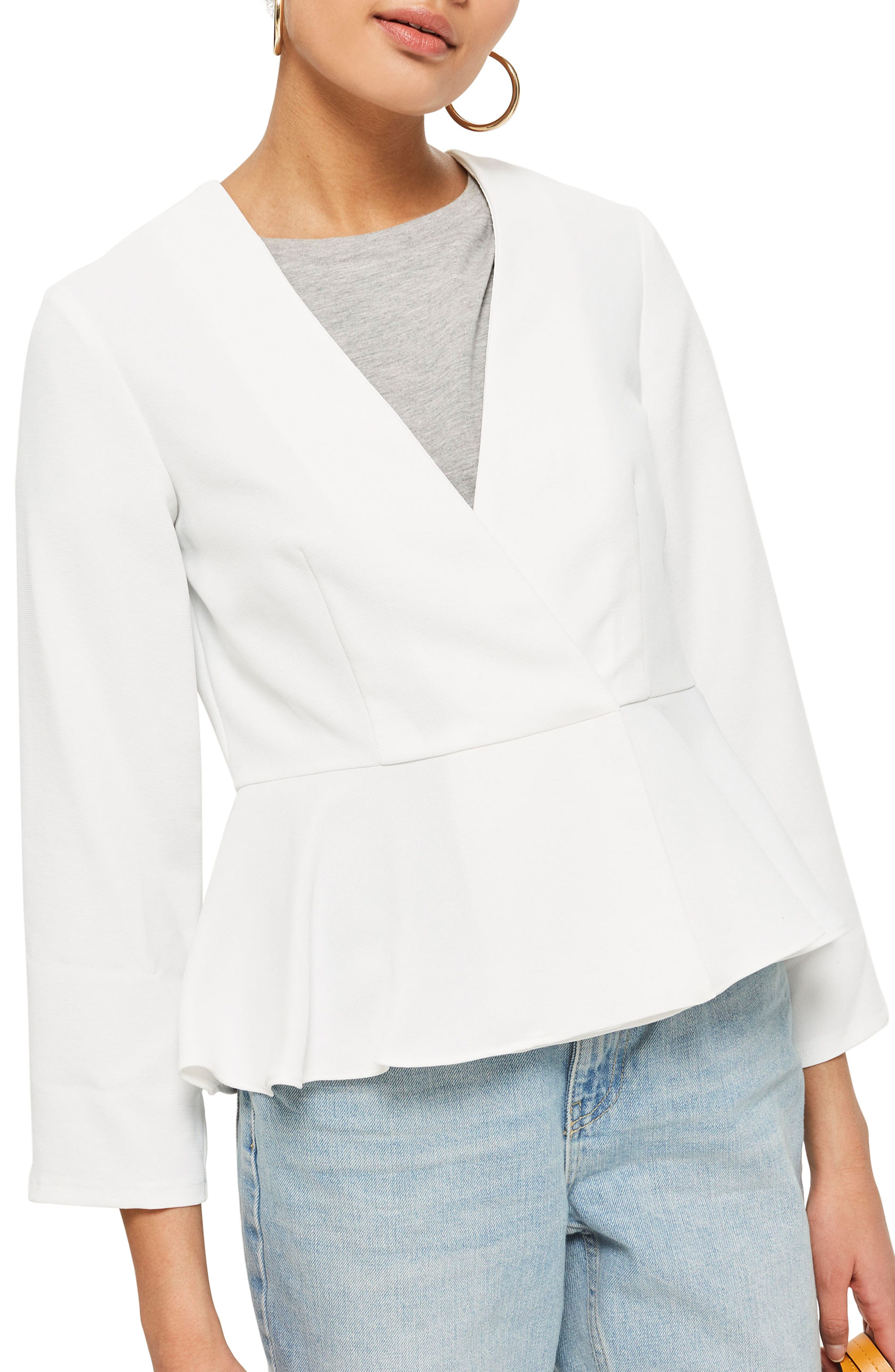 Crossover Peplum Jacket,                             Main thumbnail 1, color,                             Ivory