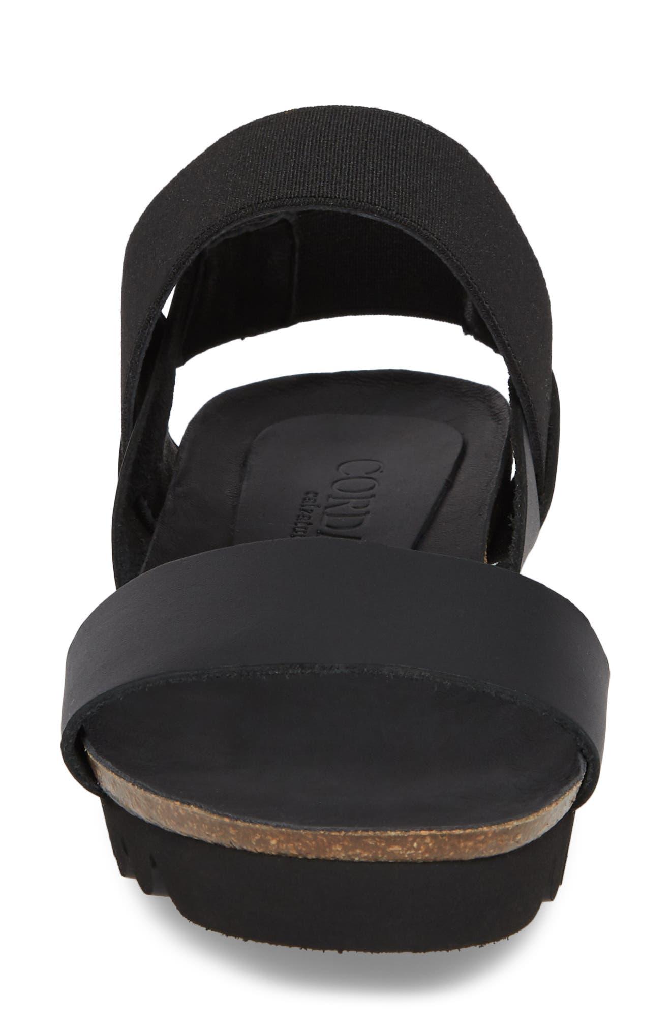 Luna Sandal,                             Alternate thumbnail 4, color,                             Black Leather