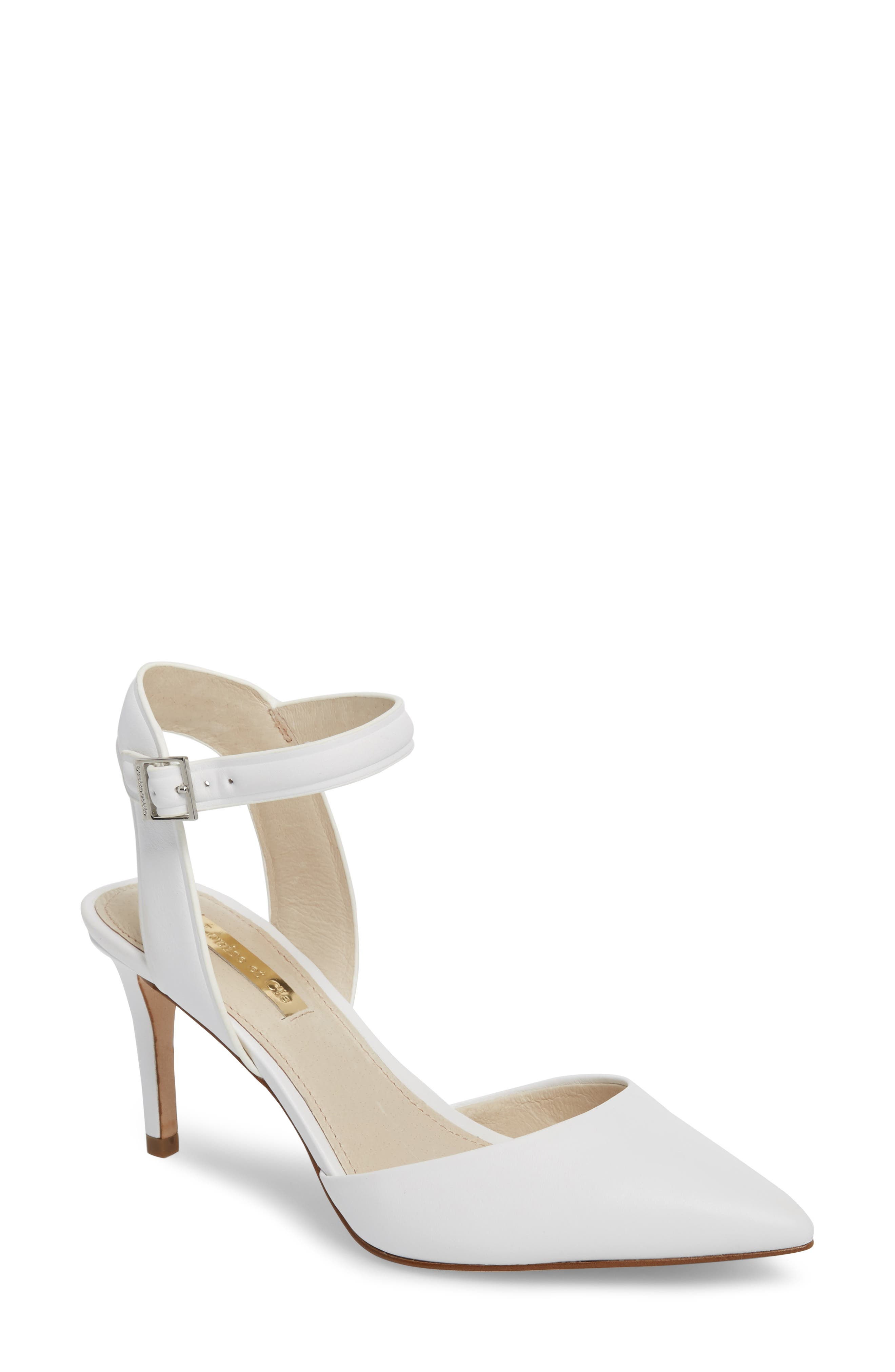 Kota Ankle Strap Pump,                         Main,                         color, White Leather