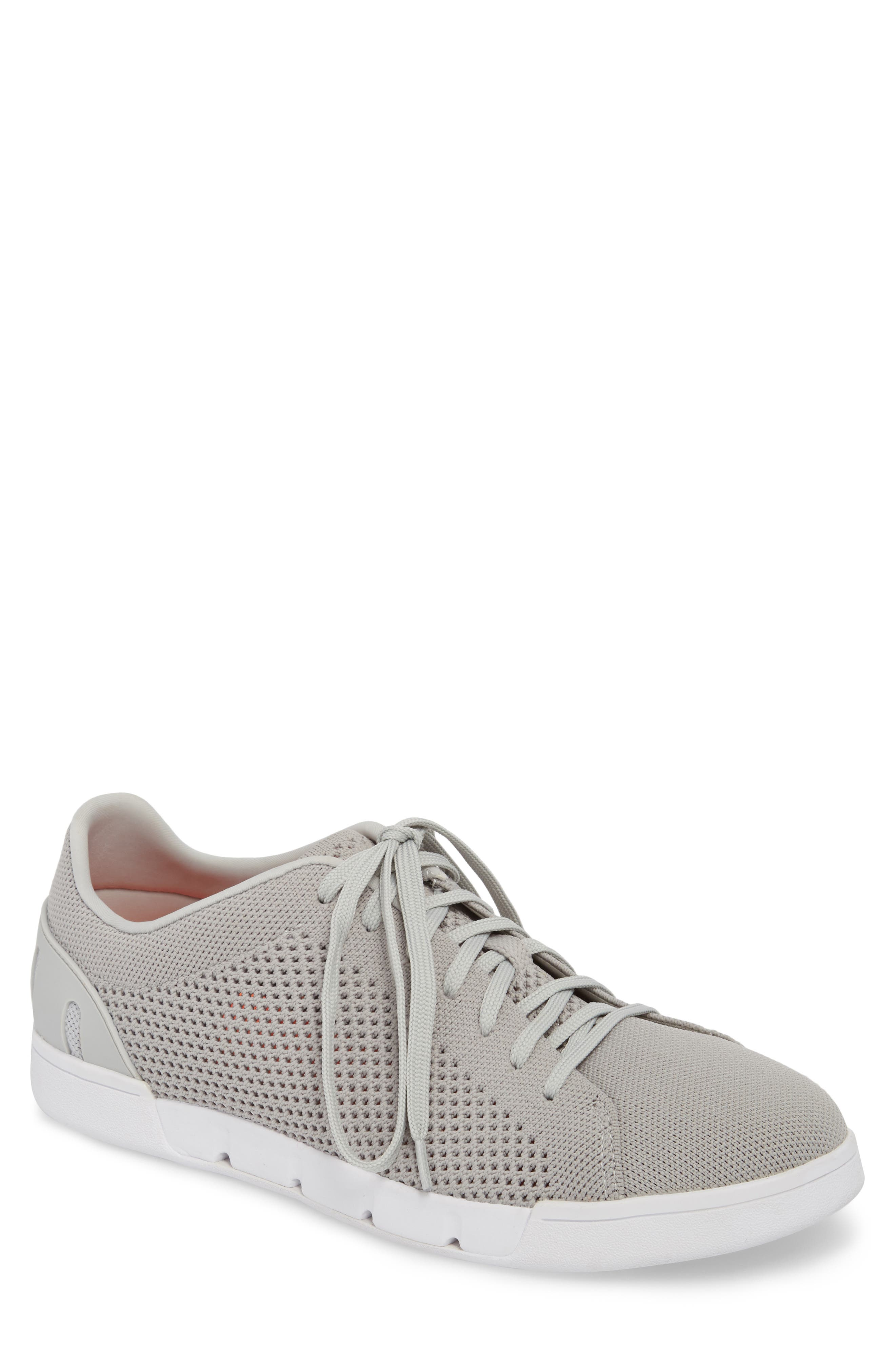 Breeze Tennis Washable Knit Sneaker,                             Main thumbnail 1, color,                             Light Grey/ White Fabric