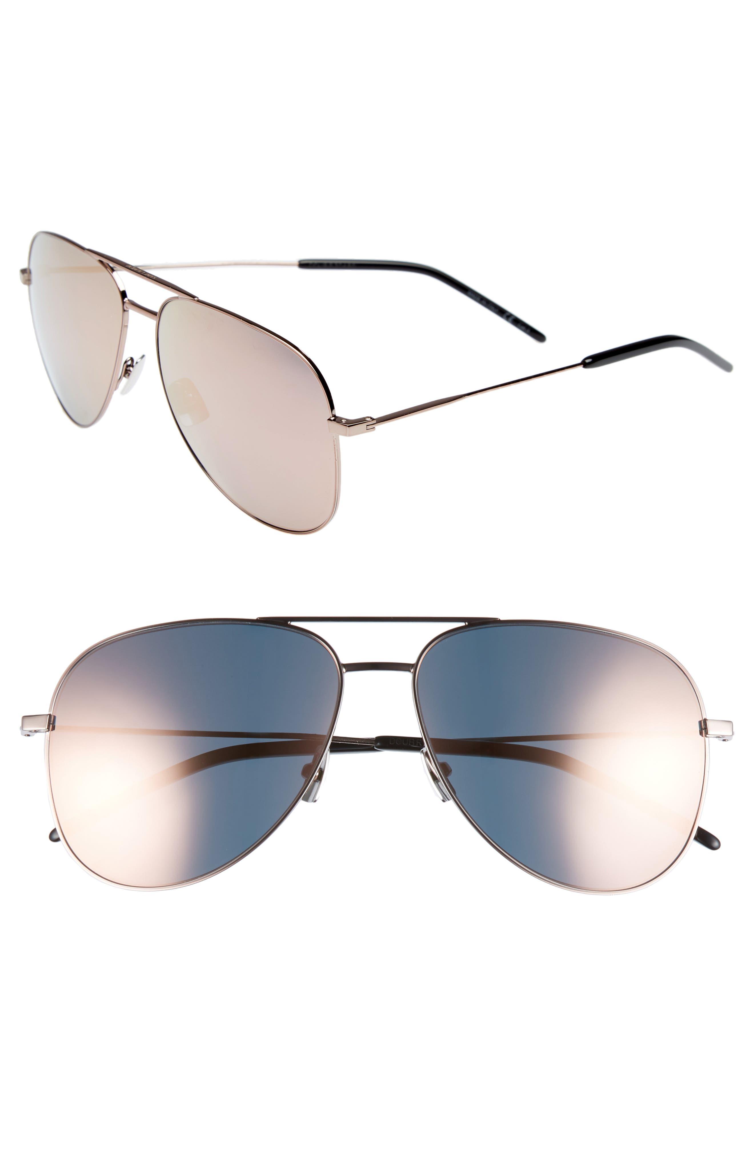 59mm Brow Bar Aviator Sunglasses,                         Main,                         color, Champagne