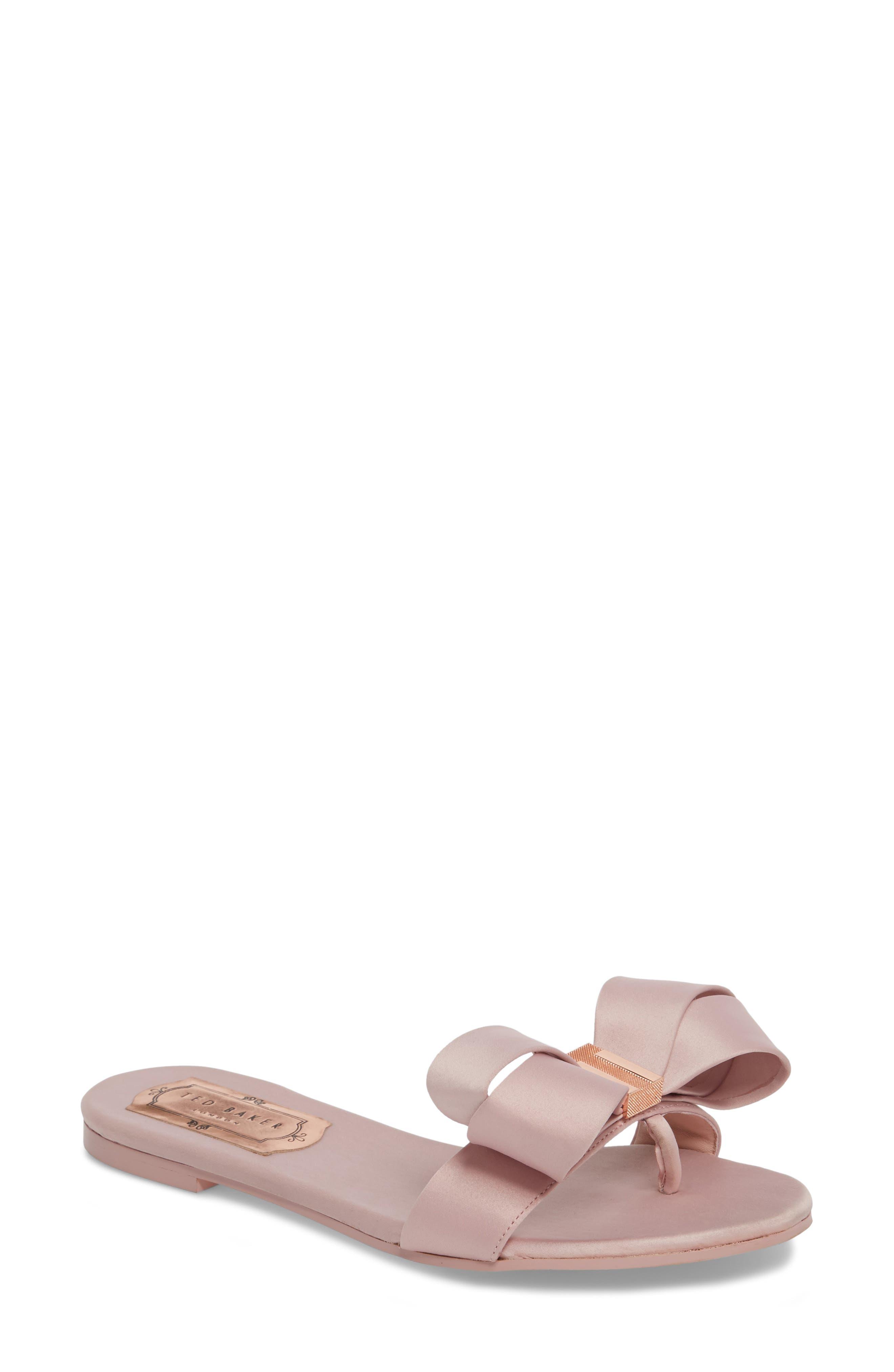 Slide Sandal,                             Main thumbnail 1, color,                             Light Pink Satin