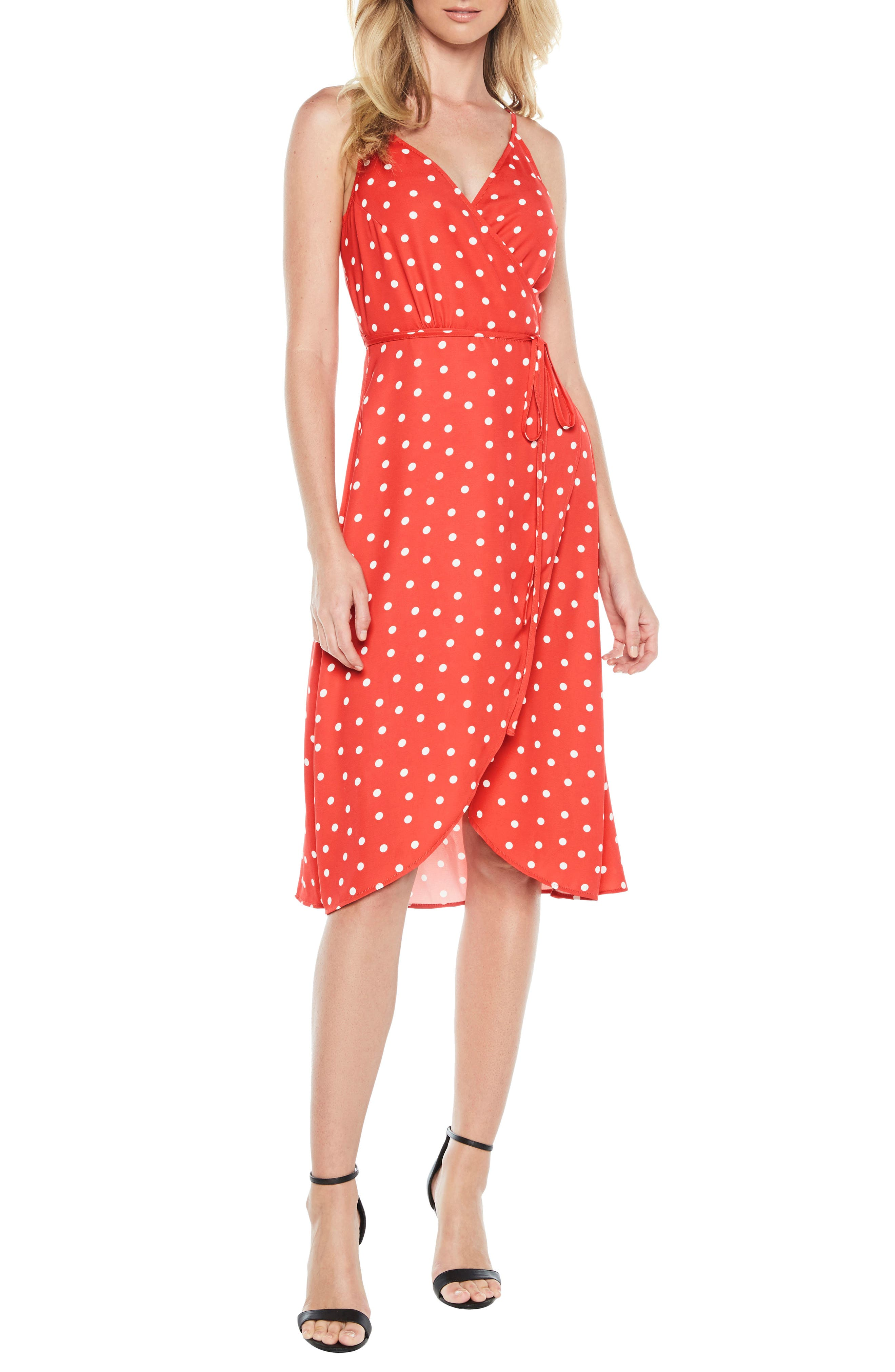 Dotted Wrap Dress,                         Main,                         color, Red Spot