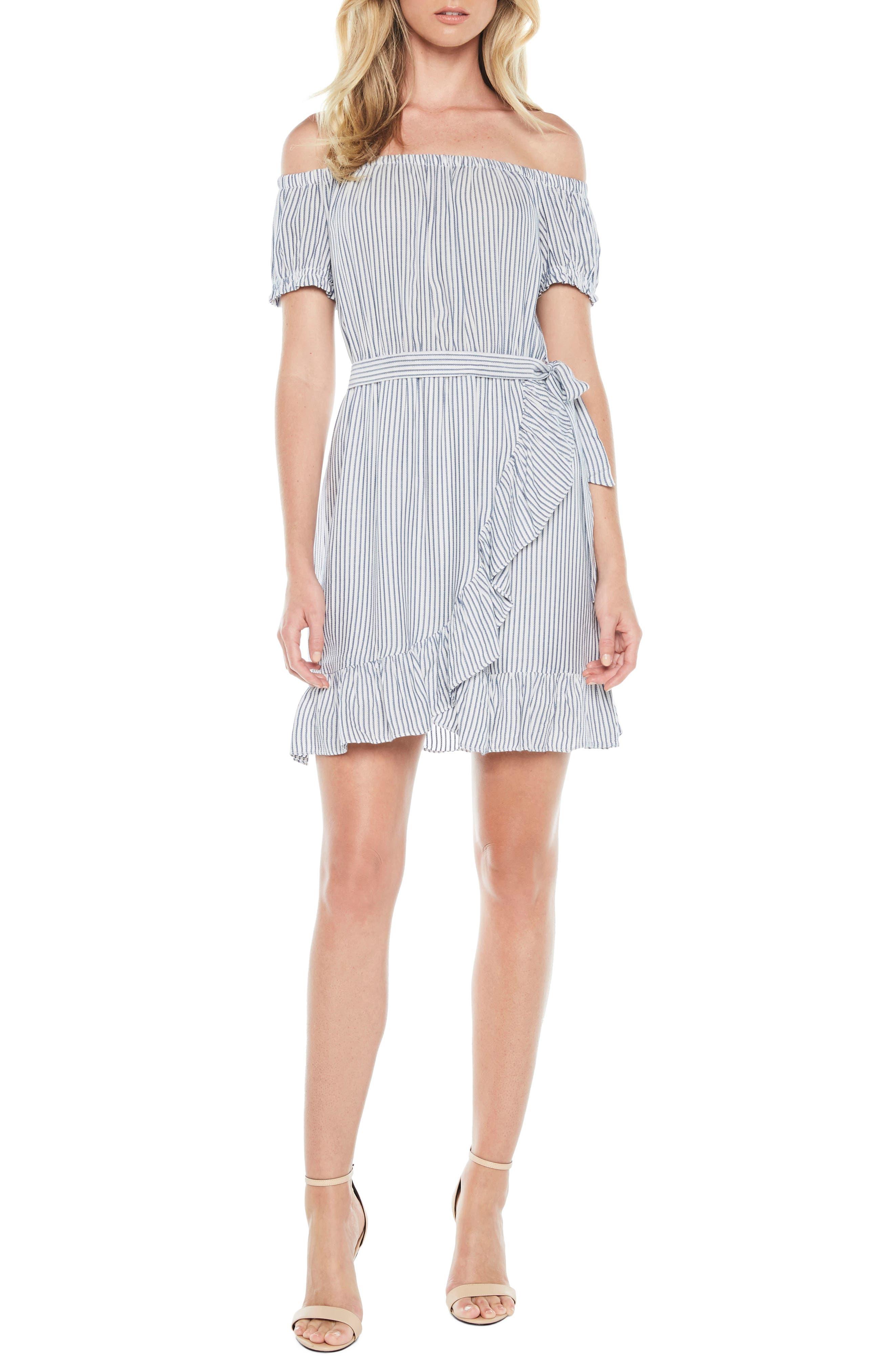 Bobbi Off the Shoulder Stripe Dress,                             Main thumbnail 1, color,                             Blue/ White