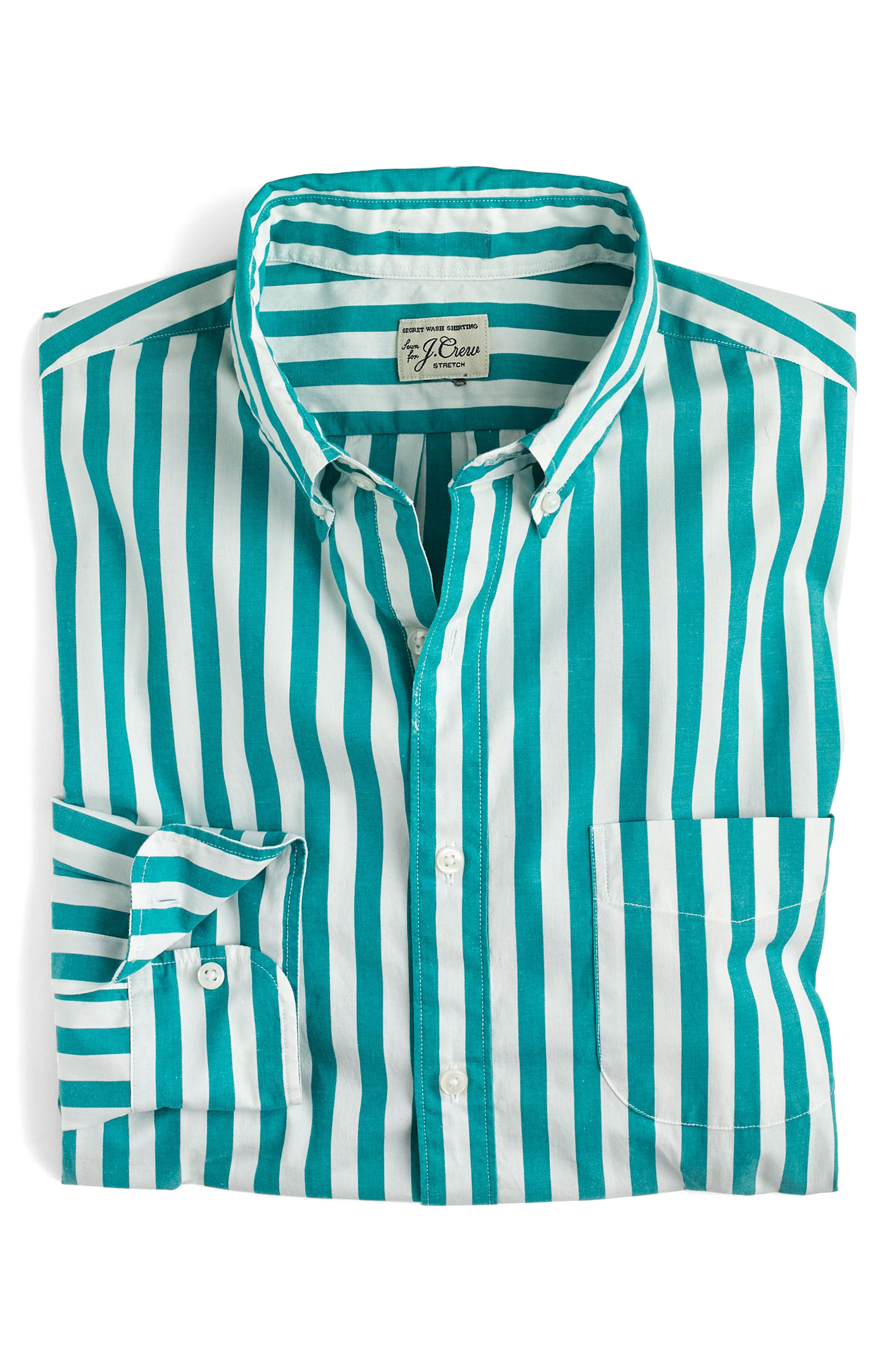 J.Crew Slim Fit Stretch Secret Wash Stripe Sport Shirt,                             Alternate thumbnail 3, color,                             Bright Turquoise