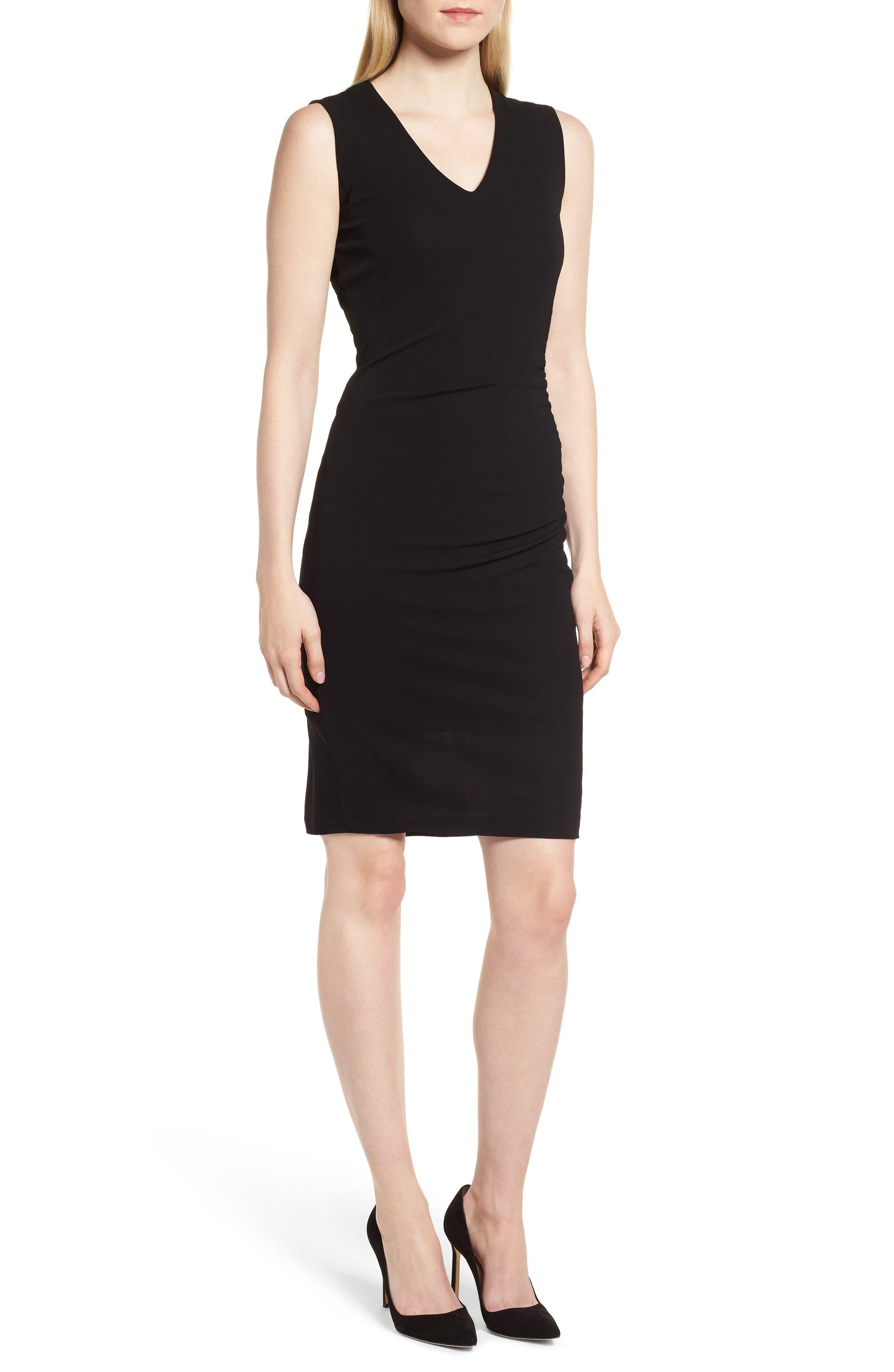 Erela Ruched Sheath Dress,                             Main thumbnail 1, color,                             Black